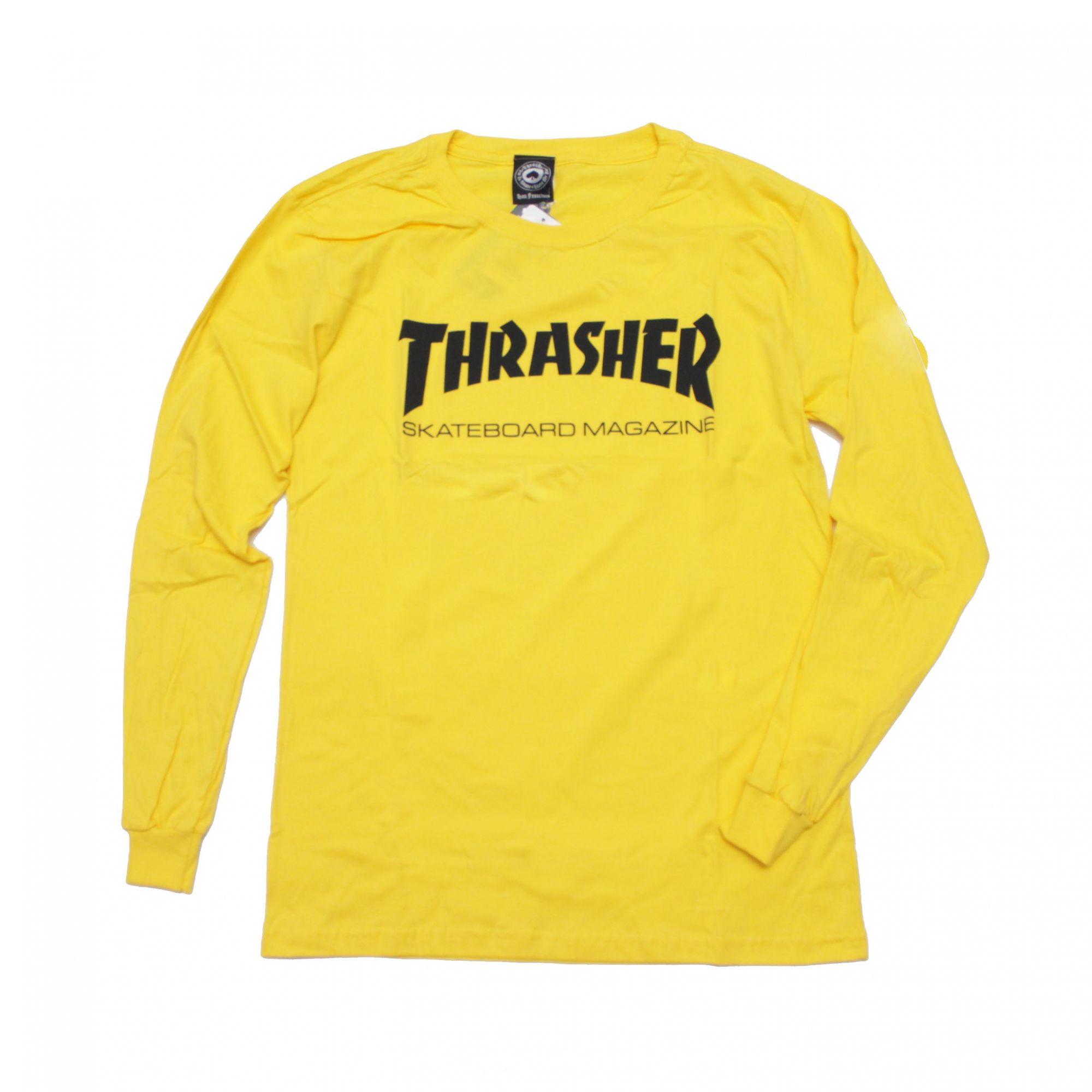 Camiseta Manga Longa Thrasher Magazine Skate Mag Amarelo