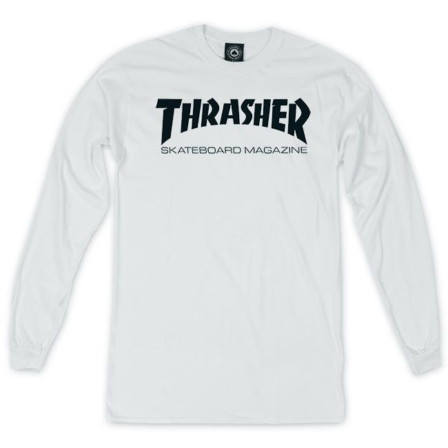Camiseta Manga Longa Thrasher Magazine Skate Mag - Branco