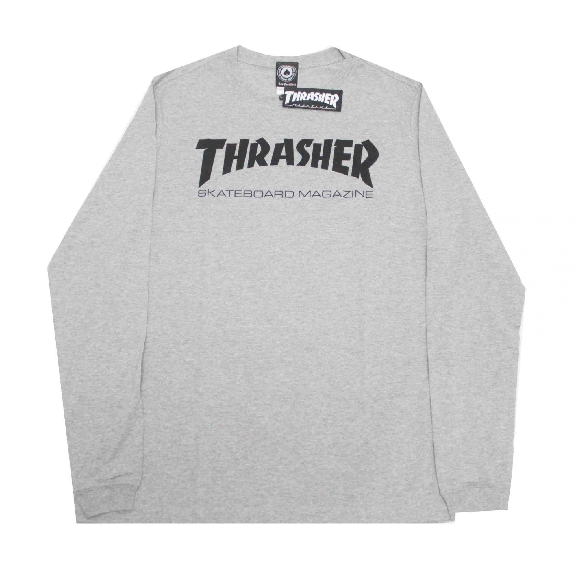 Camiseta Manga Longa Thrasher Magazine Skate Mag Grey