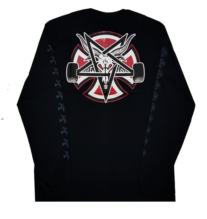 Camiseta Manga Longa Thrasher Magazine x Independent Pentagram Cross Black