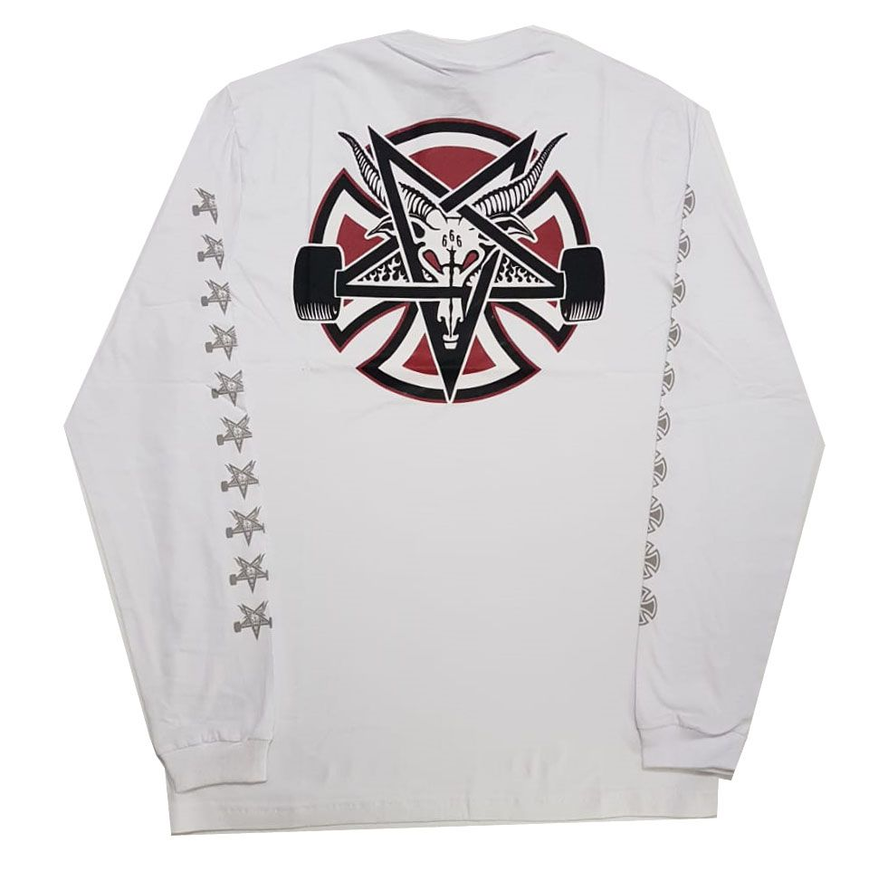Camiseta Manga Longa Thrasher Magazine x Independent Pentagram Cross - Branco