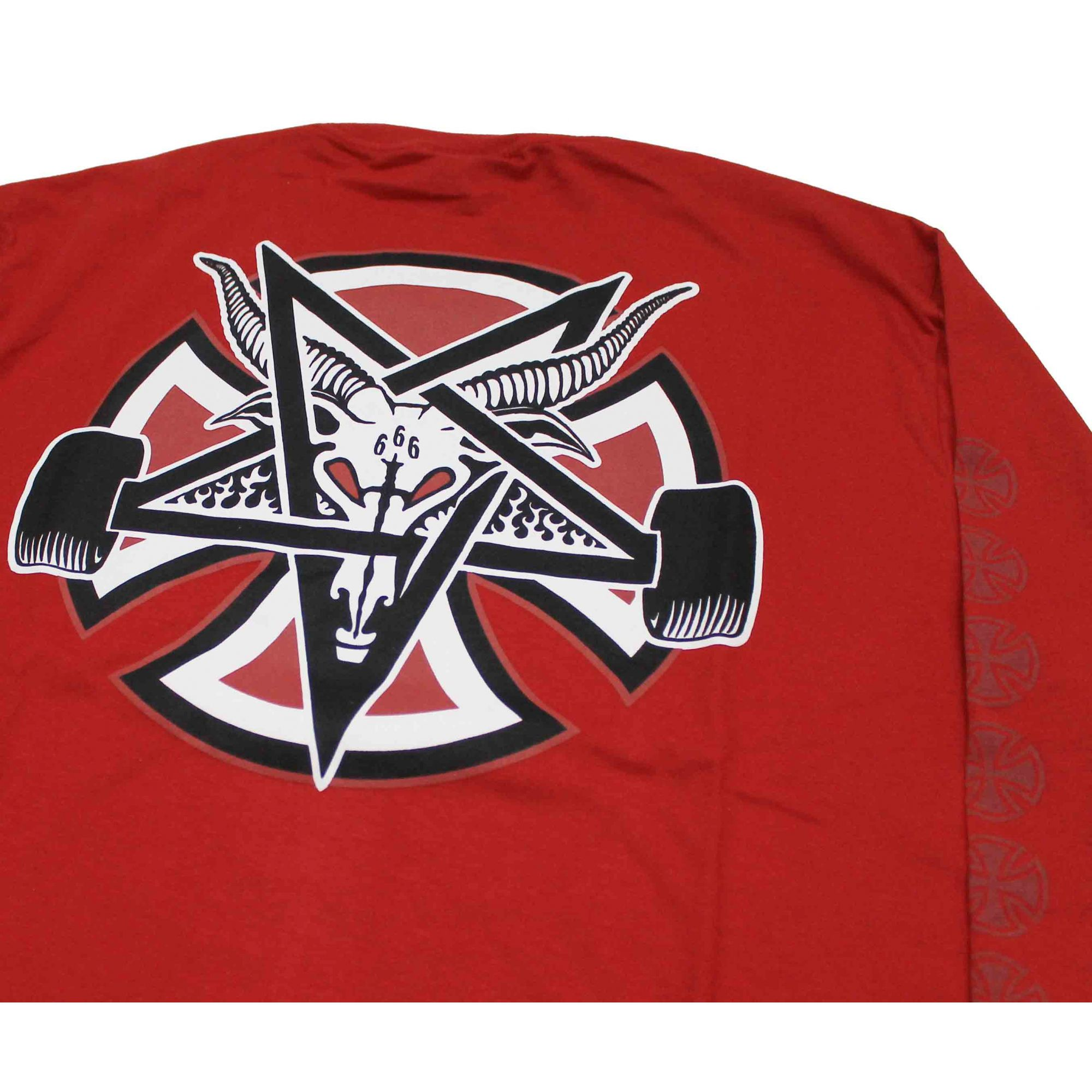 Camiseta Manga Longa Thrasher Magazine x Independent Pentagram Cross Red