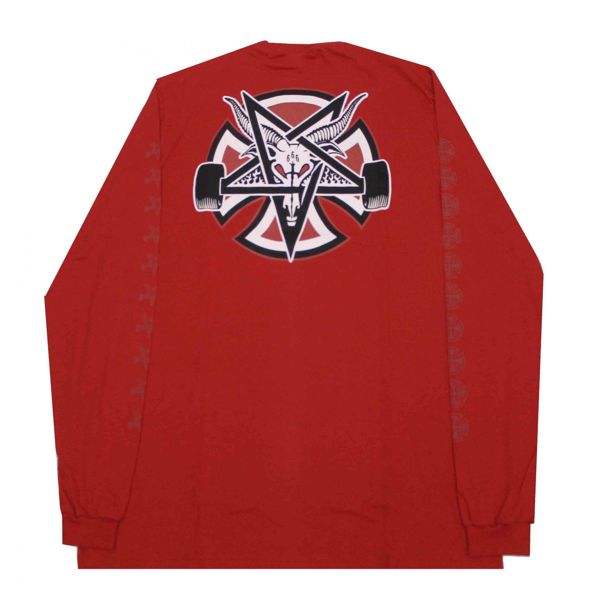 Camiseta Manga Longa Thrasher Magazine x Independent Pentagram Cross - Vermelho