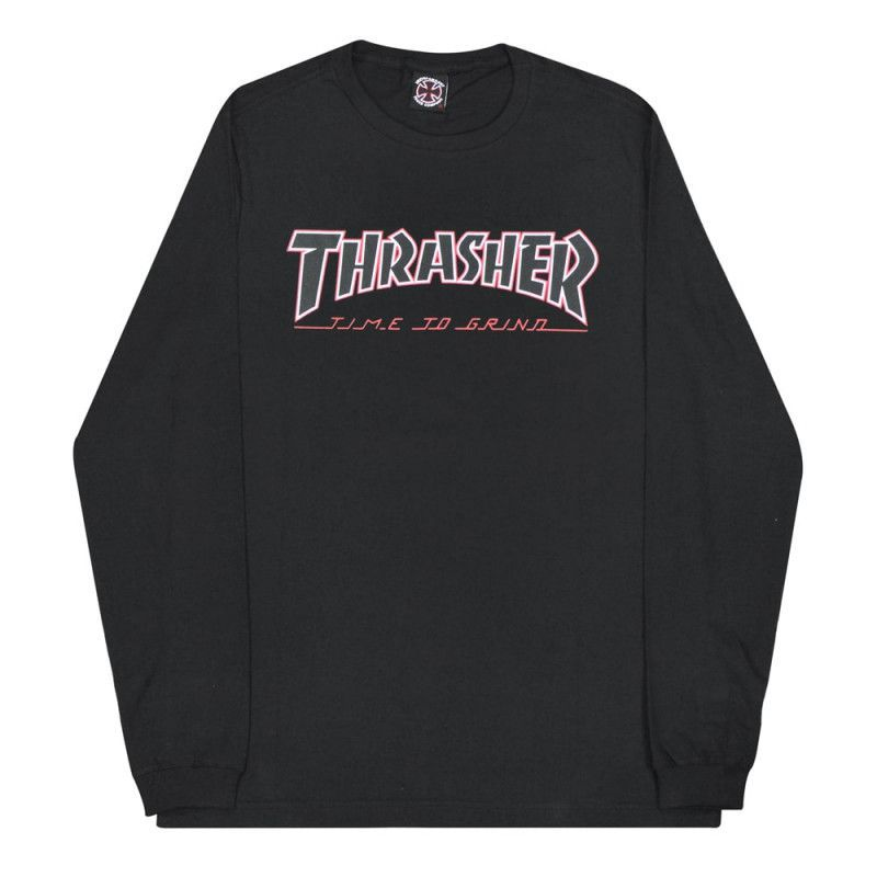 Camiseta Manga Longa Thrasher Magazine x Independent Time To Grind Black