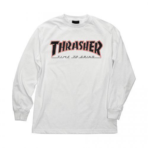 Camiseta Manga Longa Thrasher Magazine x Independent Time To Grind - Branco