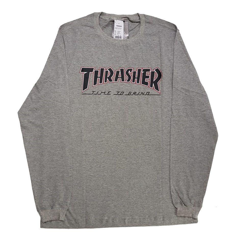Camiseta Manga Longa Thrasher Magazine x Independent Time To Grind - Cinza Mescla