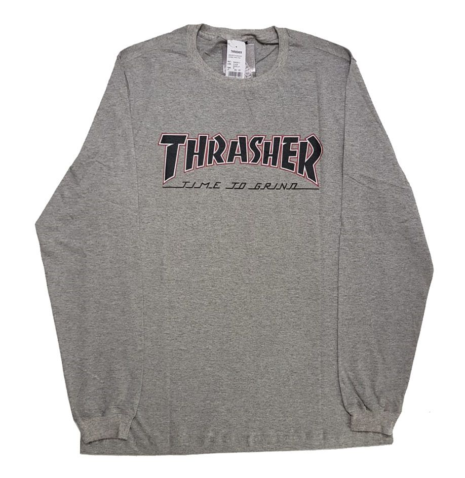 Camiseta Manga Longa Thrasher Magazine x Independent Time To Grind Grey