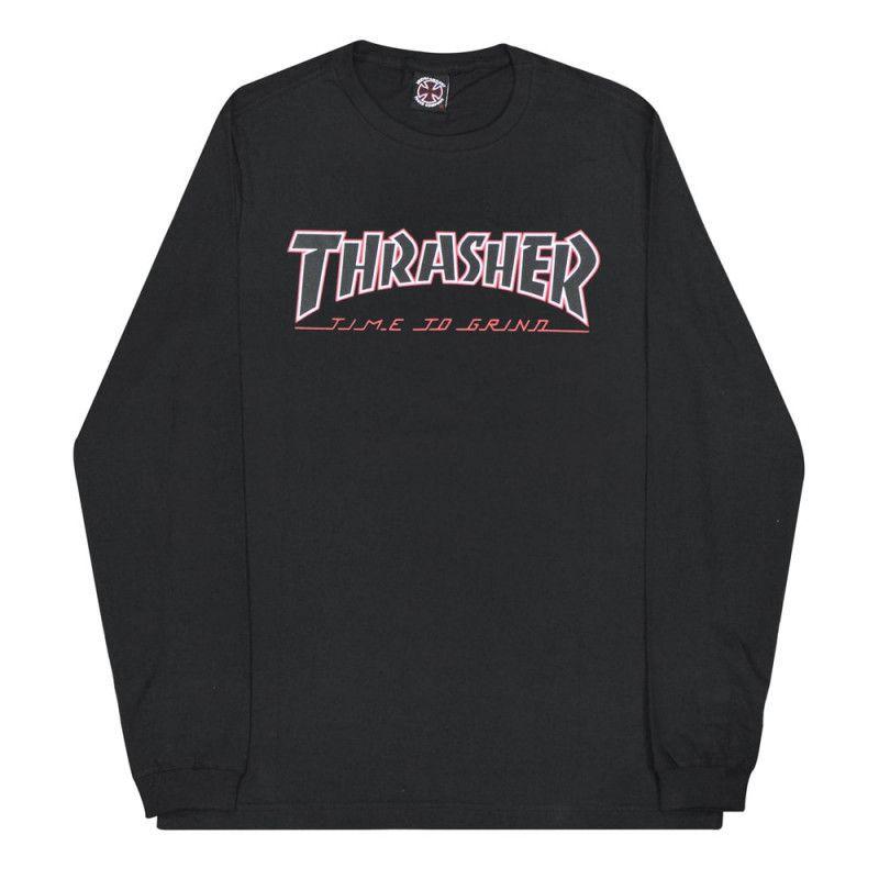 Camiseta Manga Longa Thrasher Magazine x Independent Time To Grind - Preto