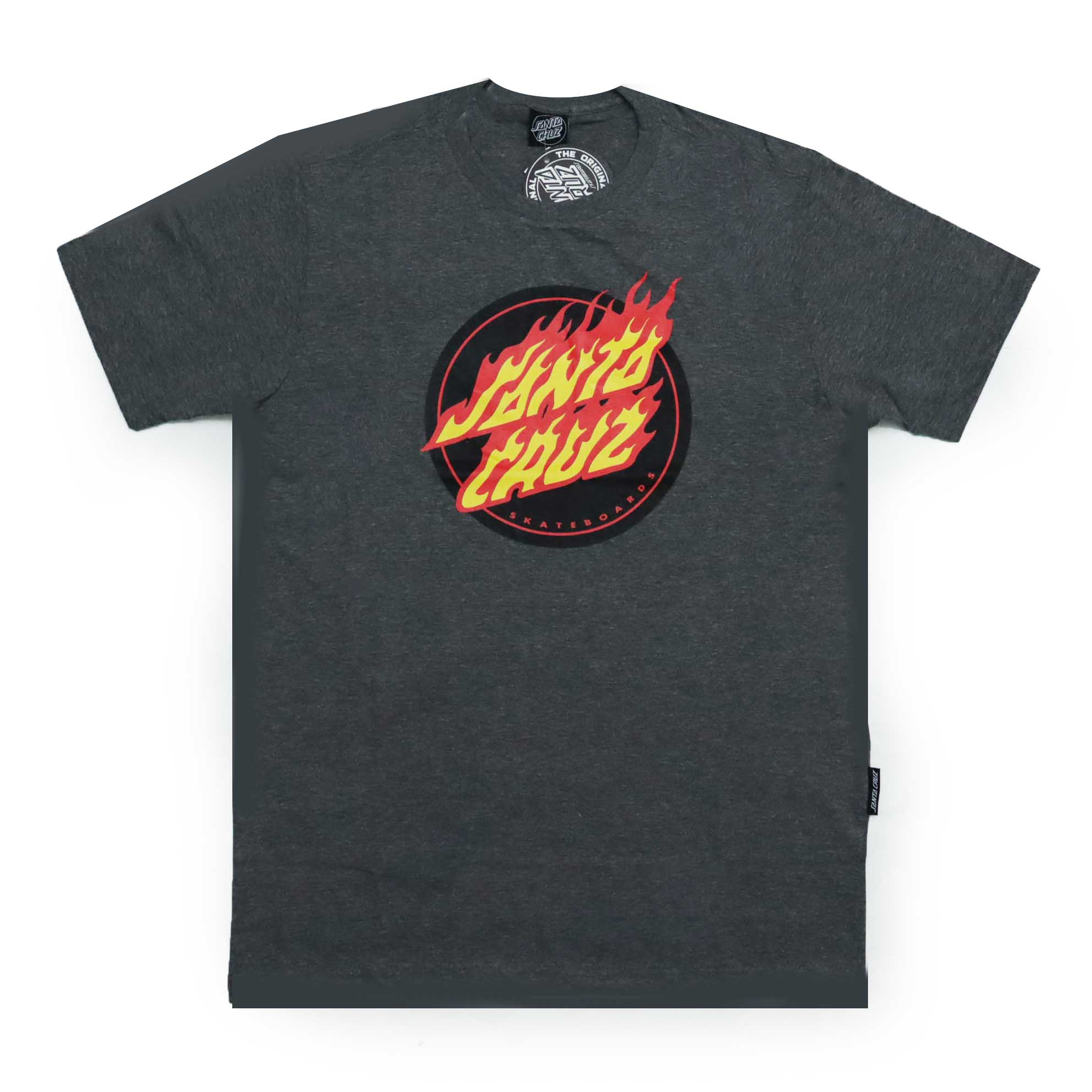 Camiseta Santa Cruz Flaming Dot Front - Chumbo Mescla