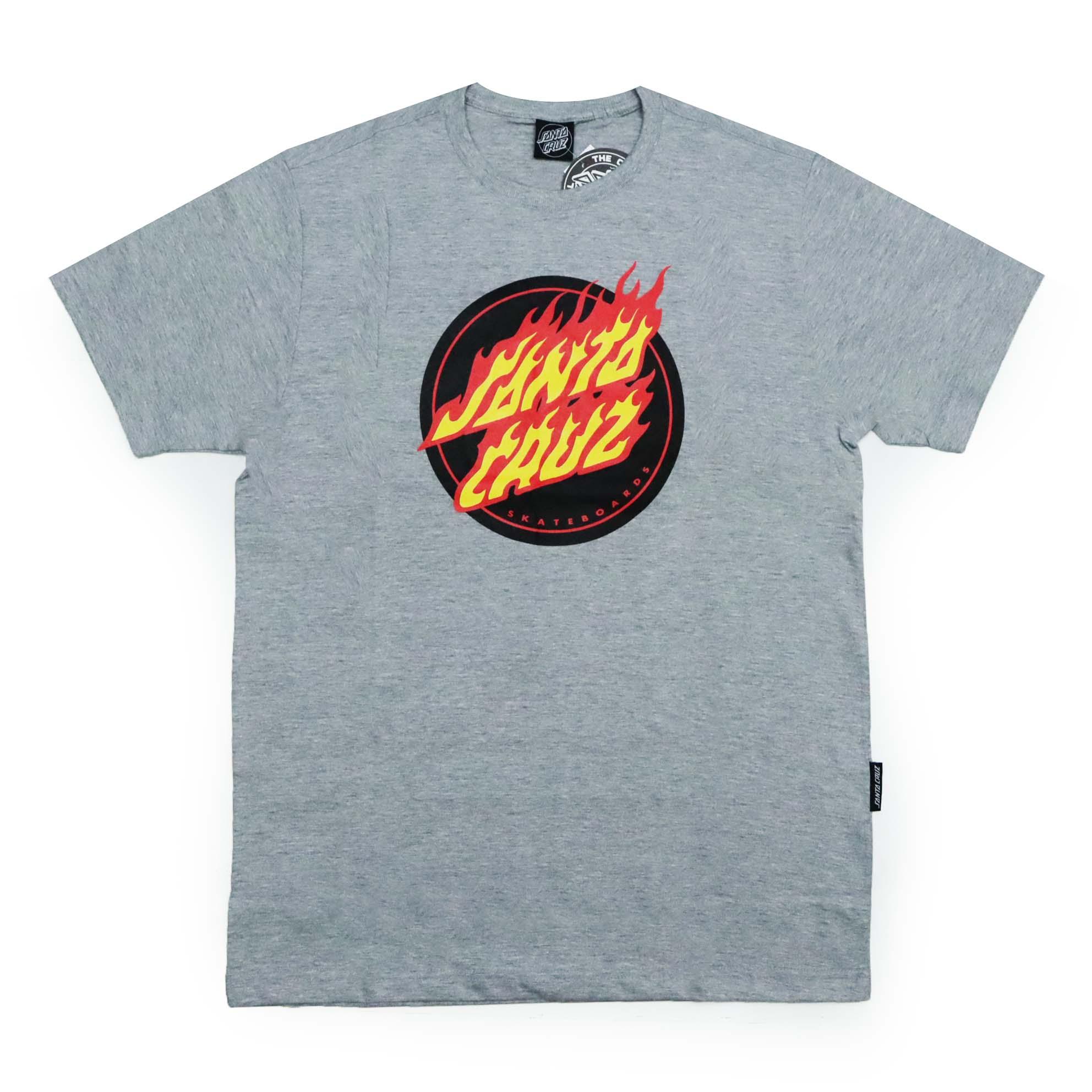 Camiseta Santa Cruz Flaming Dot Front - Cinza Mescla