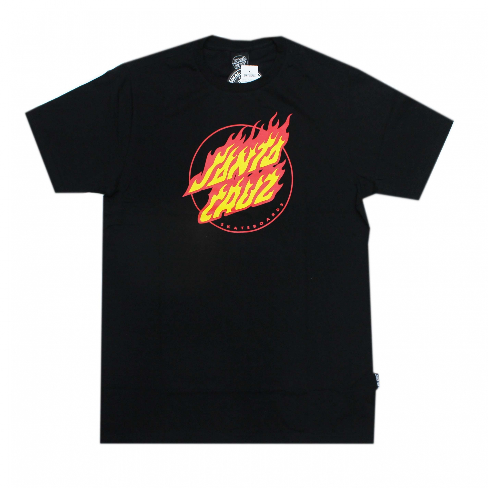 Camiseta Santa Cruz Flaming Dot Front - Preto