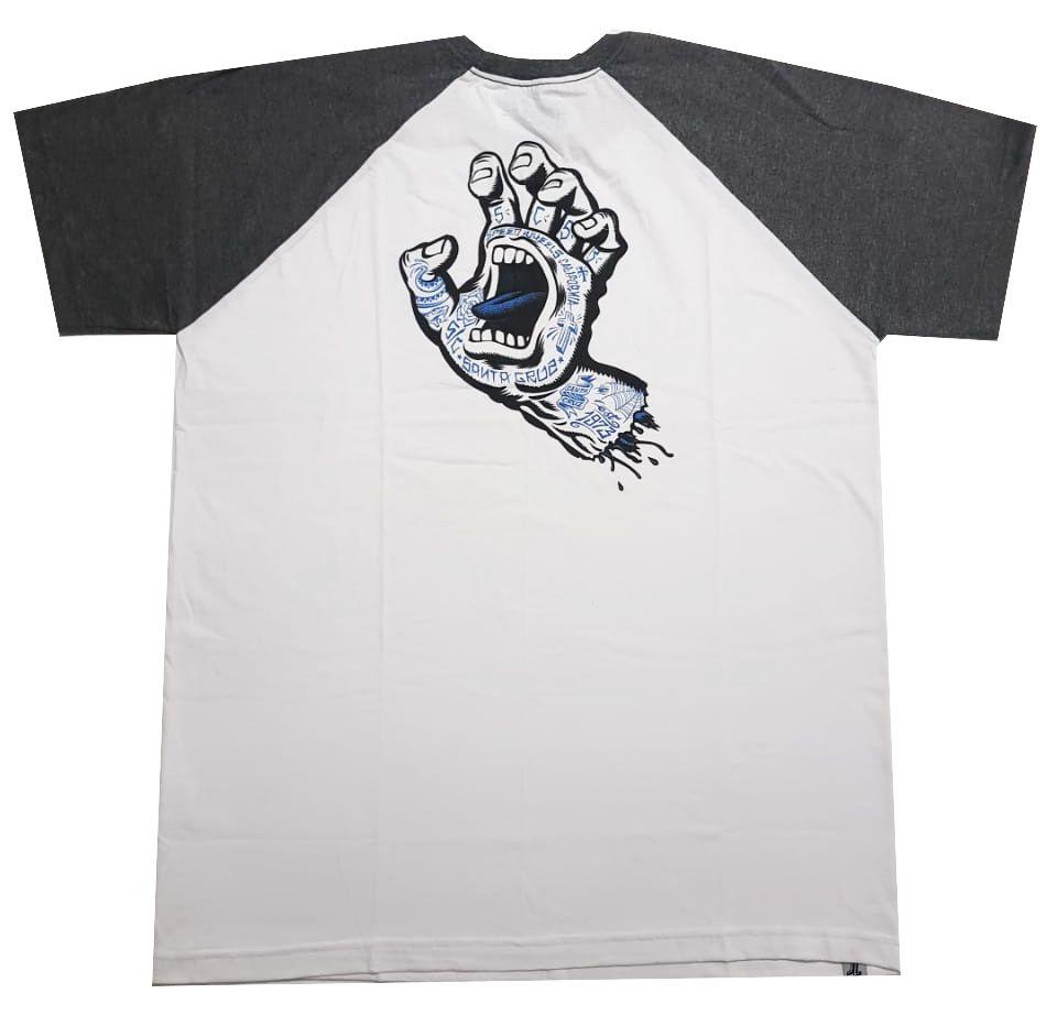 Camiseta Santa Cruz Raglan Tattoo Hand Baseball White/Grey