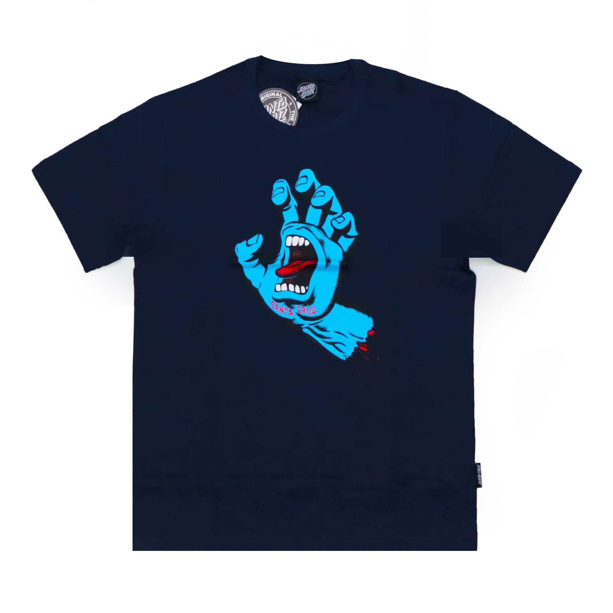 Camiseta Santa Cruz  Screaming Hand - Azul Marinho/Azul