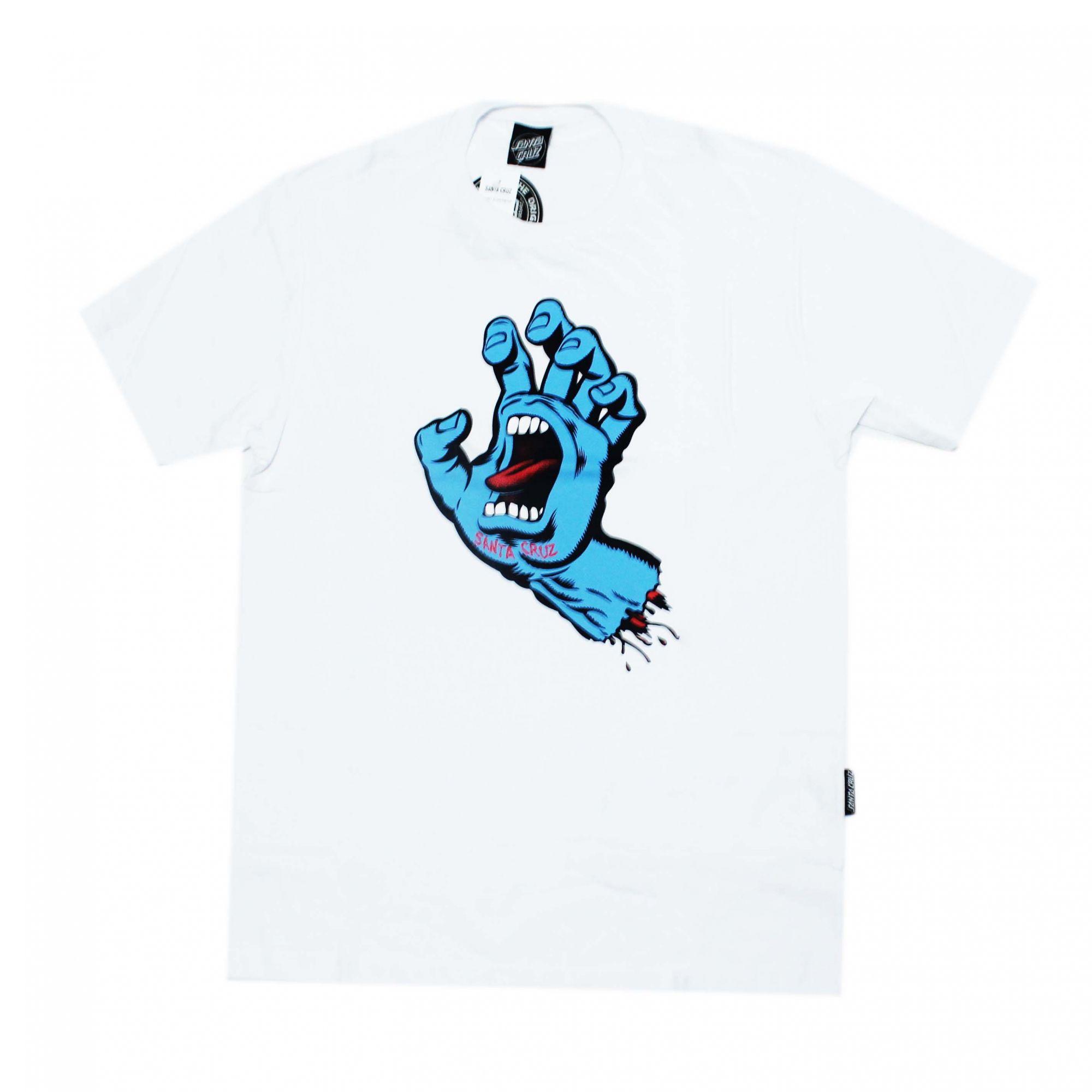 Camiseta Santa Cruz  Screaming Hand - Branco/Azul