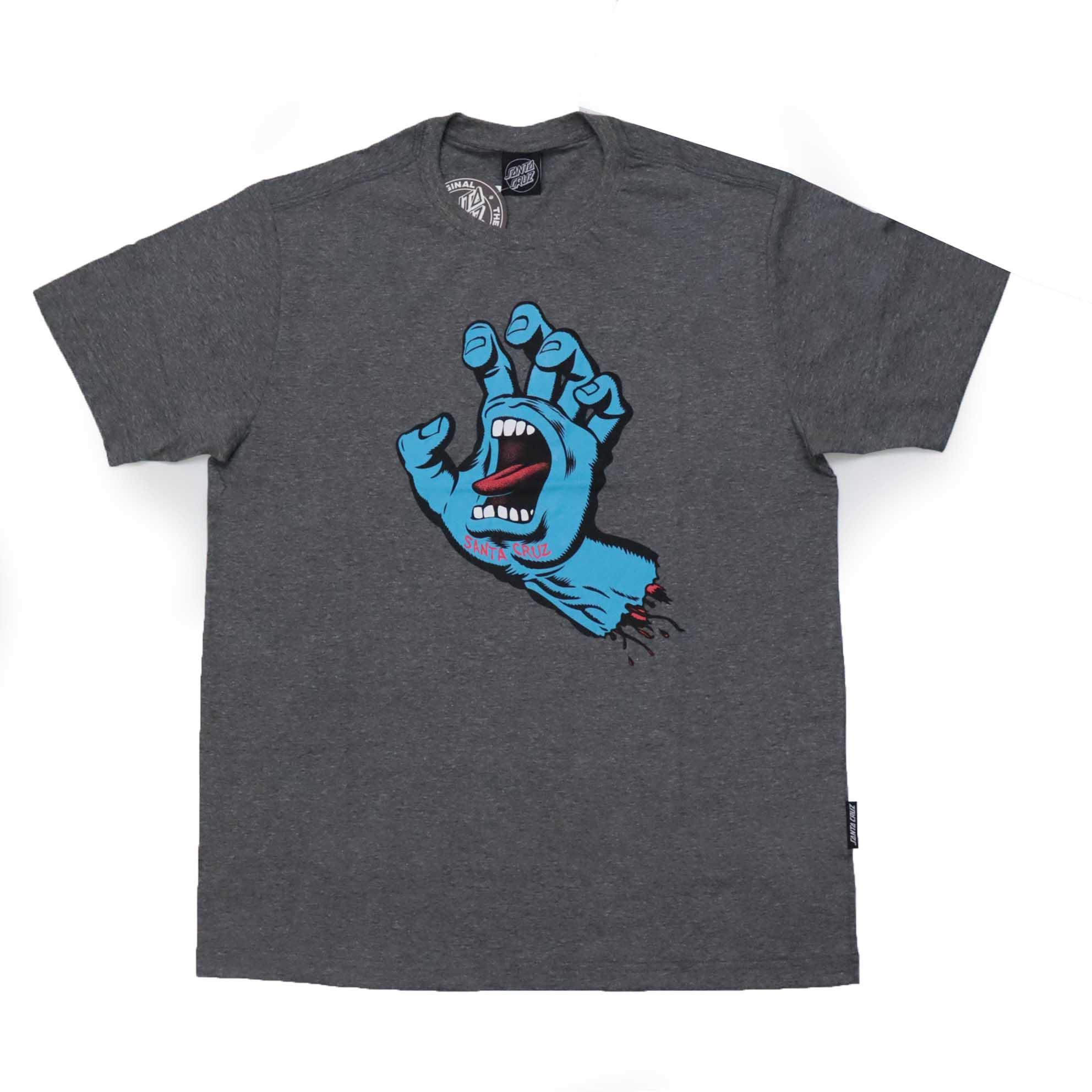 Camiseta Santa Cruz  Screaming Hand - Chumbo Mescla/Azul