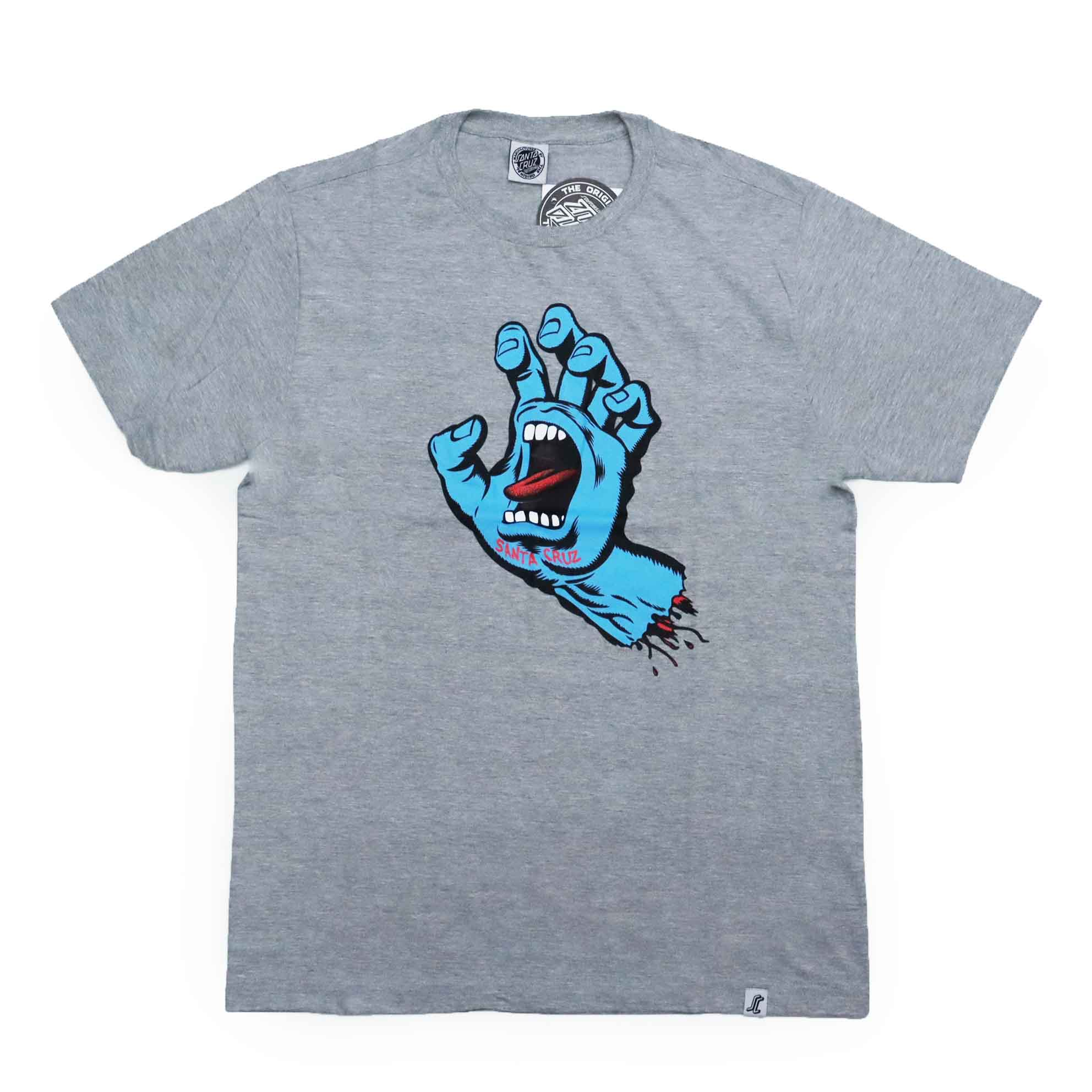 Camiseta Santa Cruz  Screaming Hand - Cinza Mescla/Azul