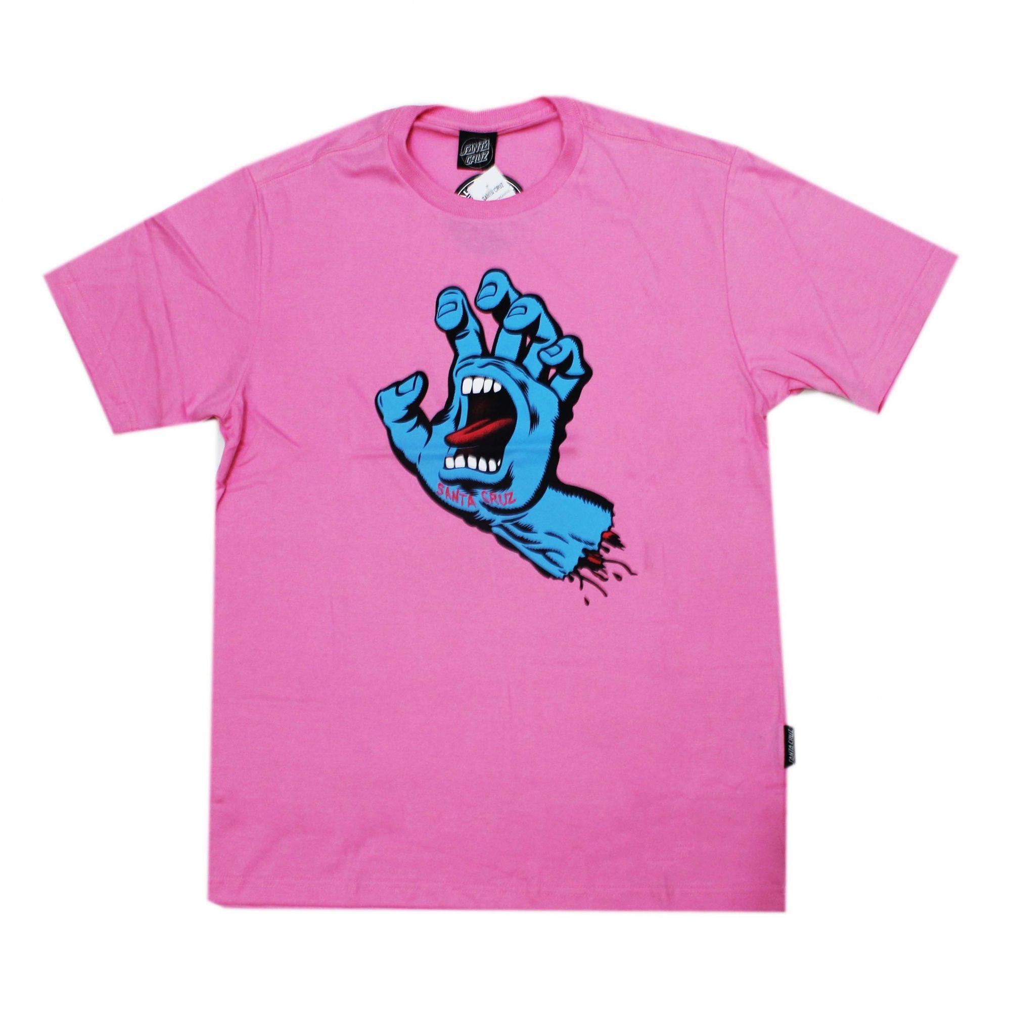 Camiseta Santa Cruz  Screaming Hand Rosa/Azul