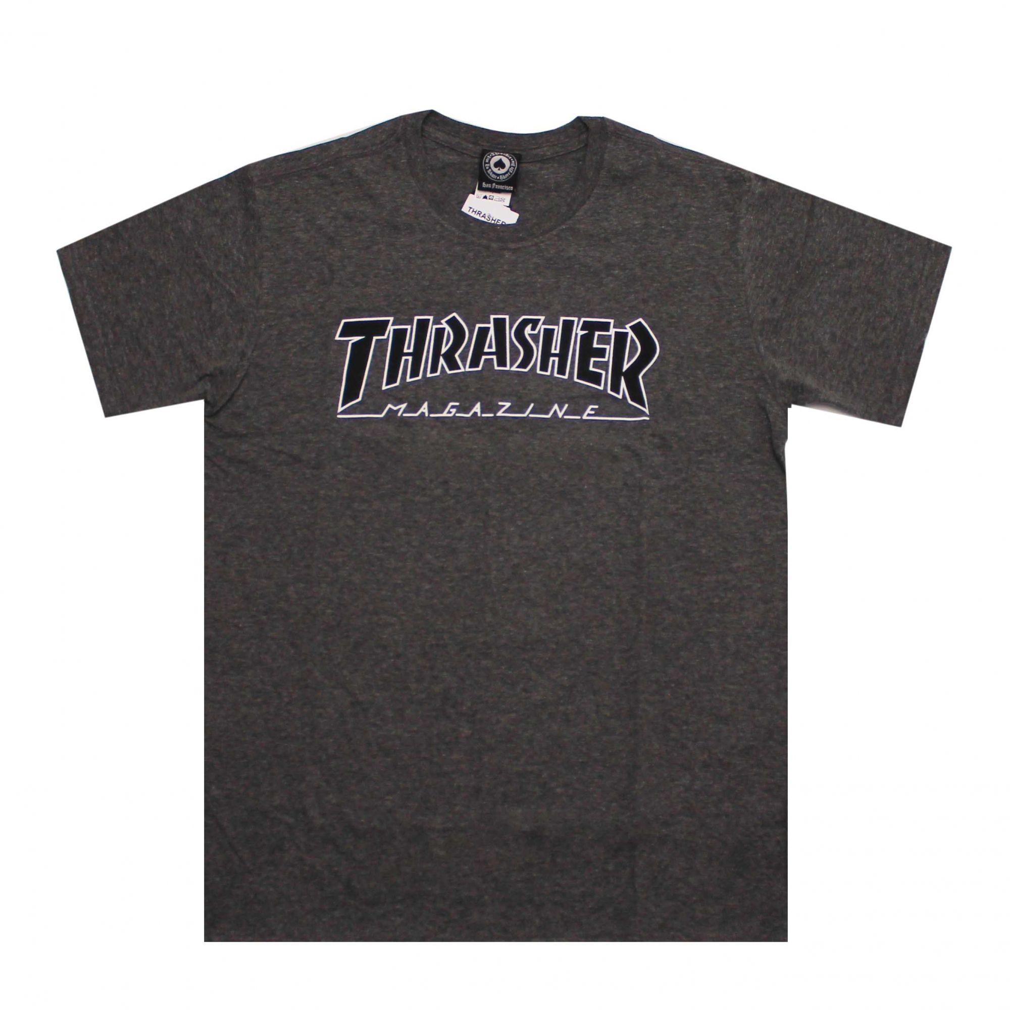 Camiseta Thrasher Magazine Black Outlined - Cinza Chumbo