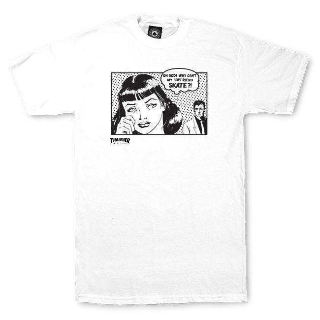Camiseta Thrasher Magazine Boyfriend - Branco