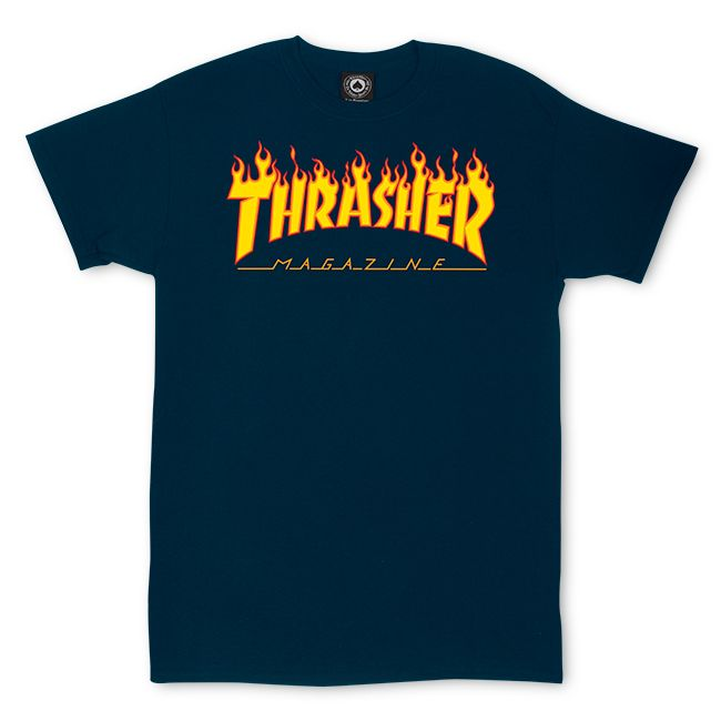 Camiseta Thrasher Magazine Classic Flame Blue Navy
