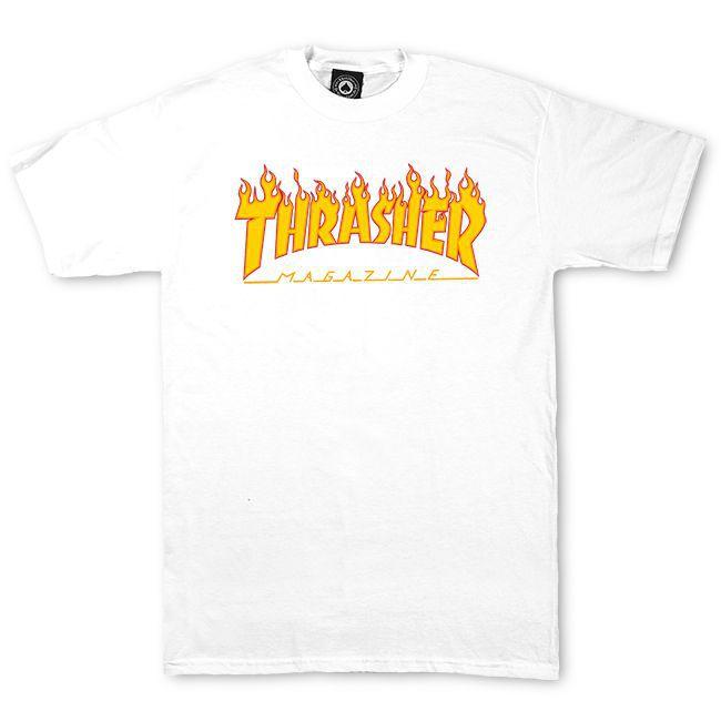 Camiseta Thrasher Magazine Classic Flame Branca