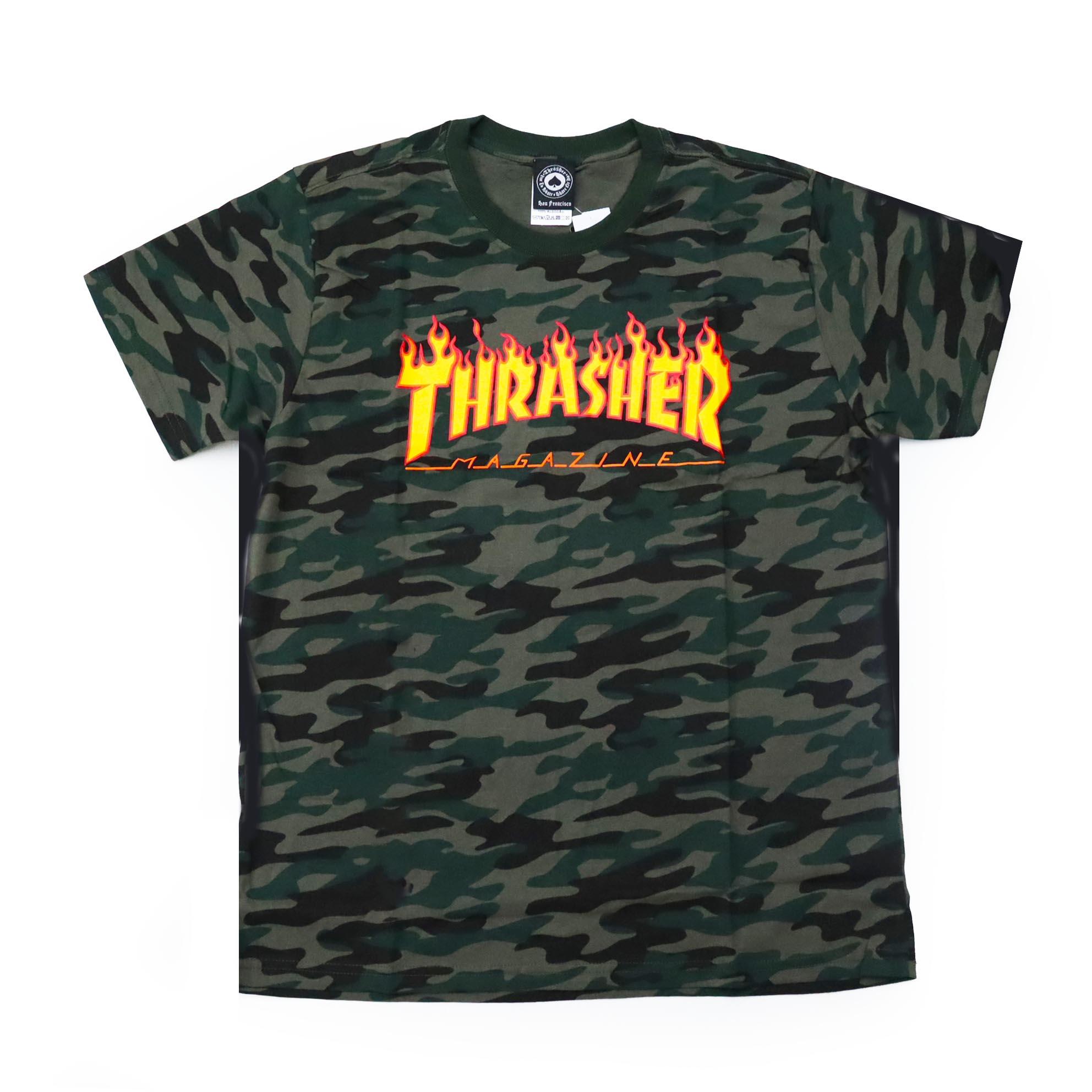 Camiseta Thrasher Magazine Classic Flame - Camuflado