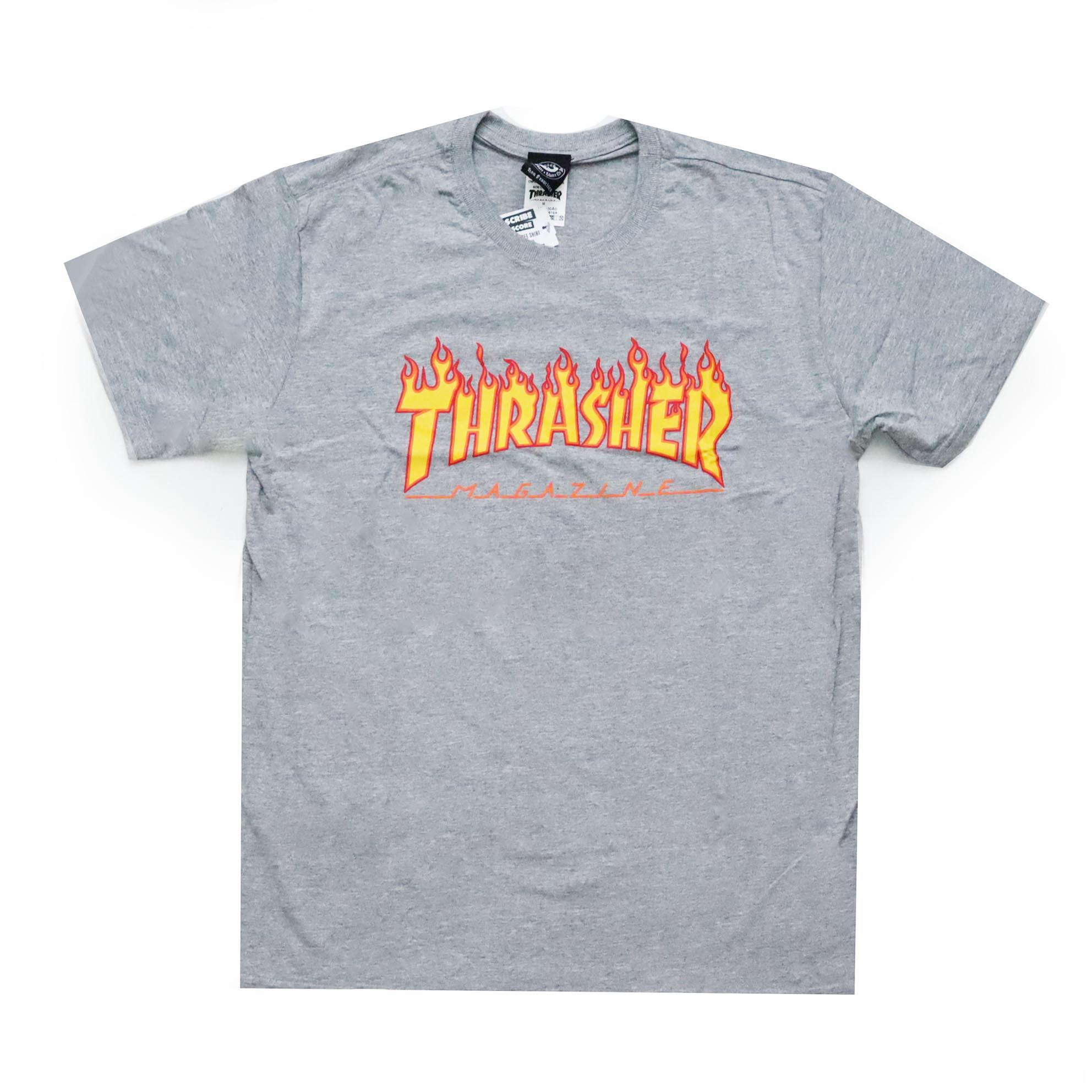 Camiseta Thrasher Magazine Classic Flame - Cinza Mescla