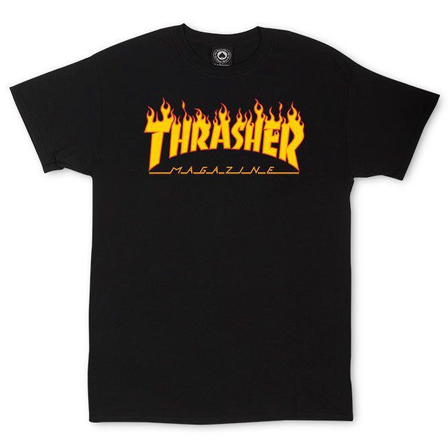 Camiseta Thrasher Magazine Classic Flame Preto