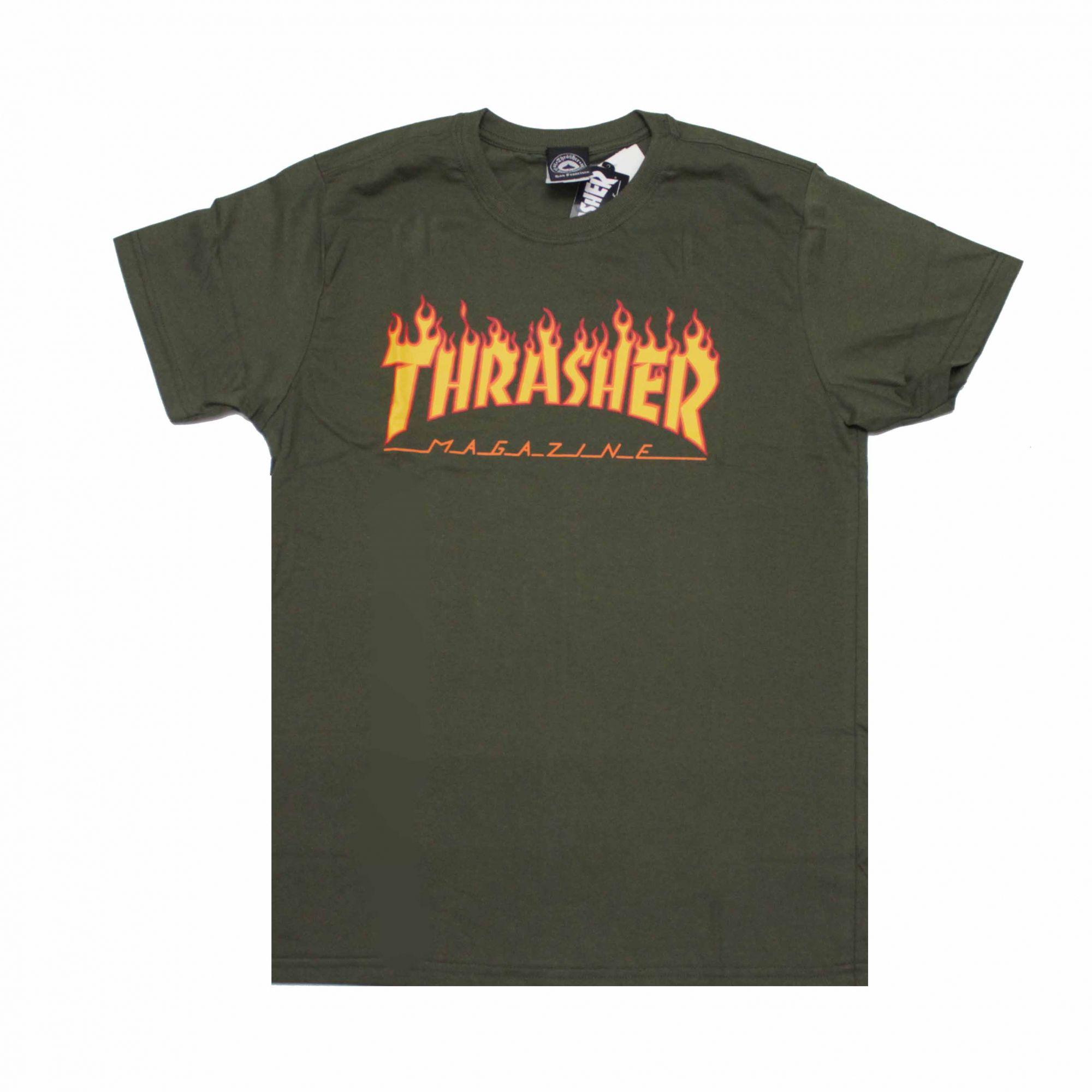 Camiseta Thrasher Magazine Classic Flame Verde Militar