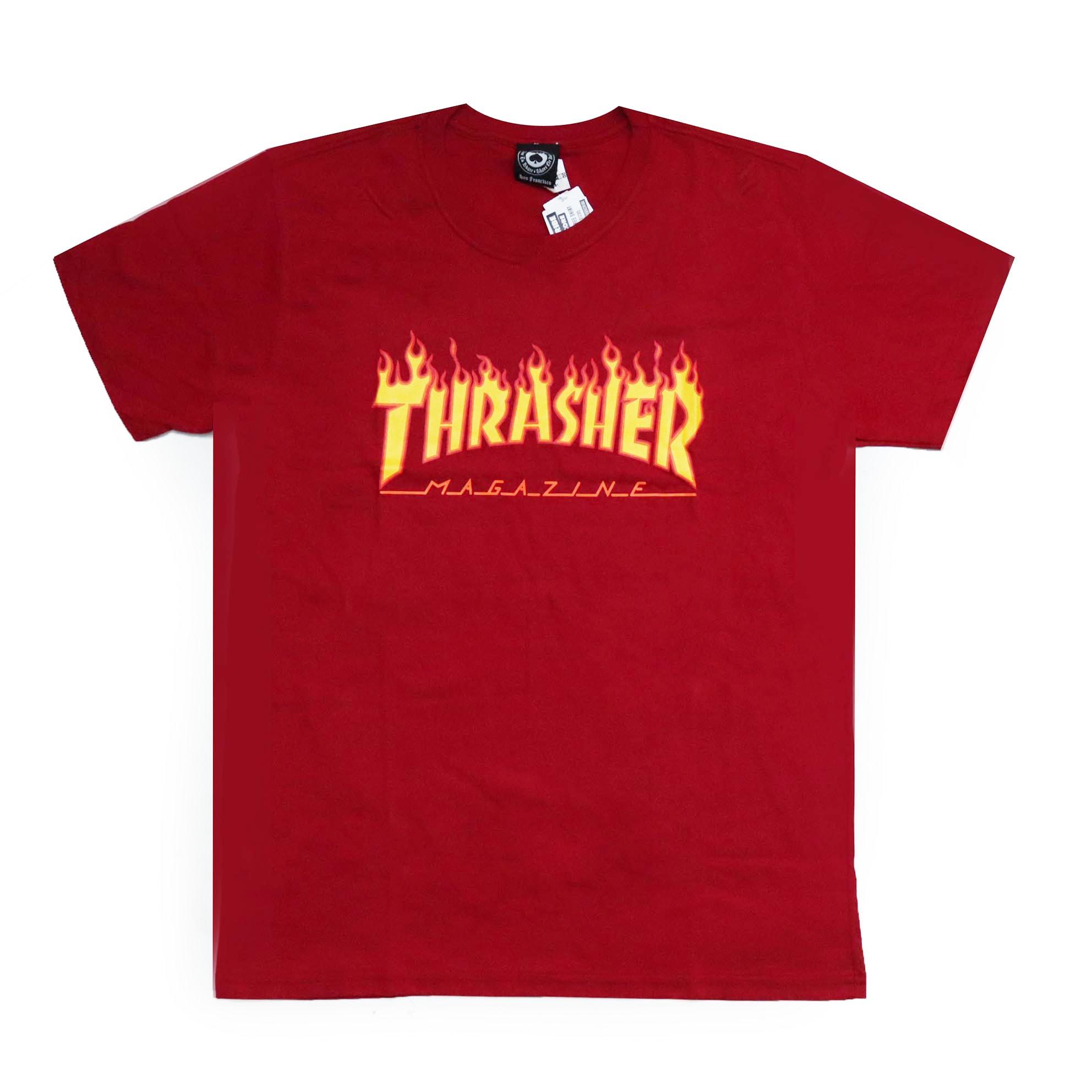 Camiseta Thrasher Magazine Classic Flame - Vermelho Bordô