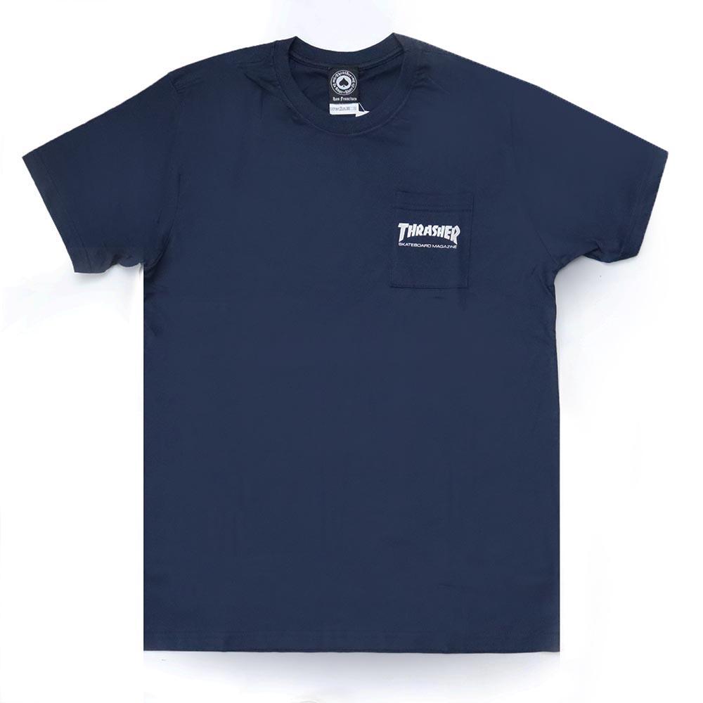 Camiseta Thrasher Magazine com Bolso Mag Logo - Azul Marinho