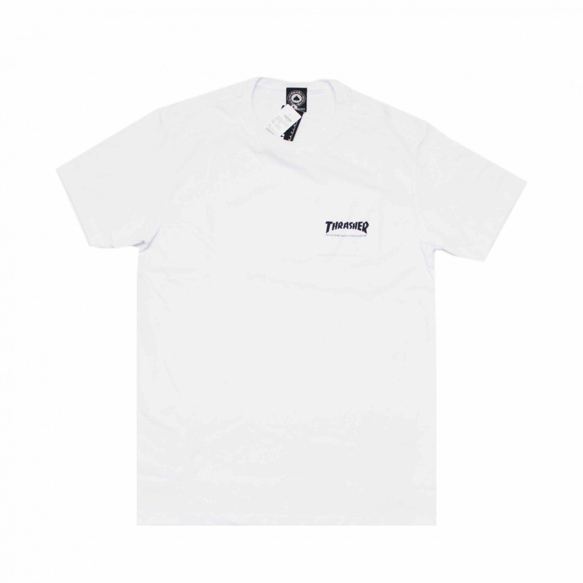 Camiseta Thrasher Magazine com Bolso Mag Logo Branco