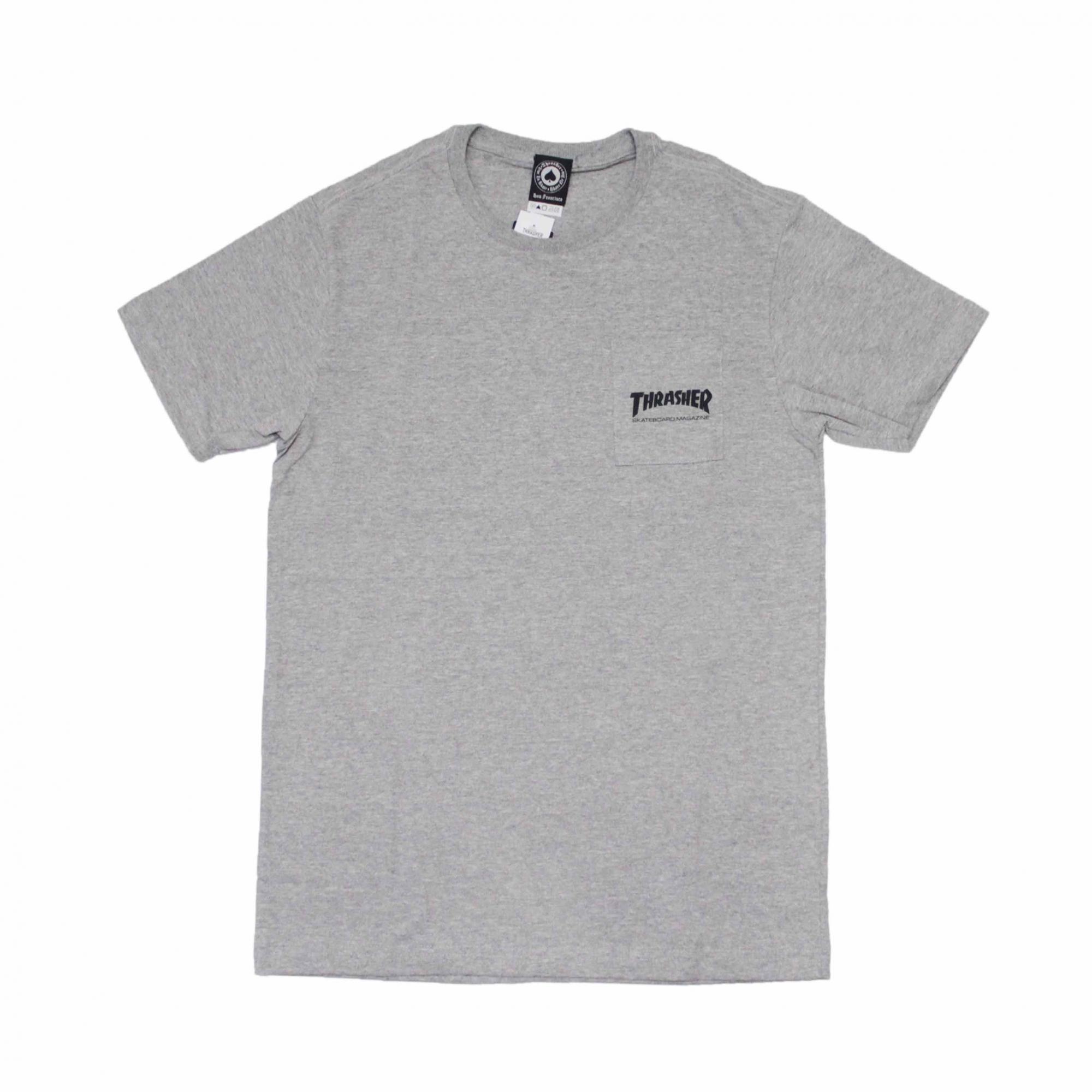 Camiseta Thrasher Magazine com Bolso Mag Logo - Cinza Mescla