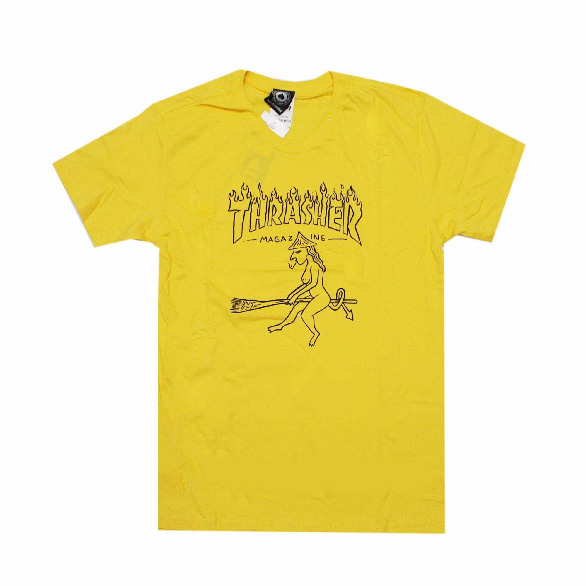 Camiseta Thrasher Magazine Drunk Witch Amarelo