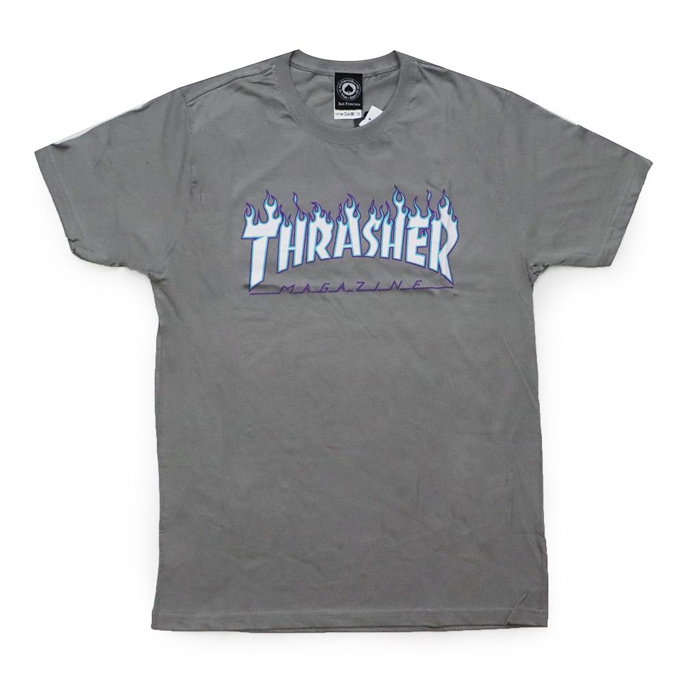 Camiseta Thrasher Magazine Flame Logo Sky - Cinza Charcoal