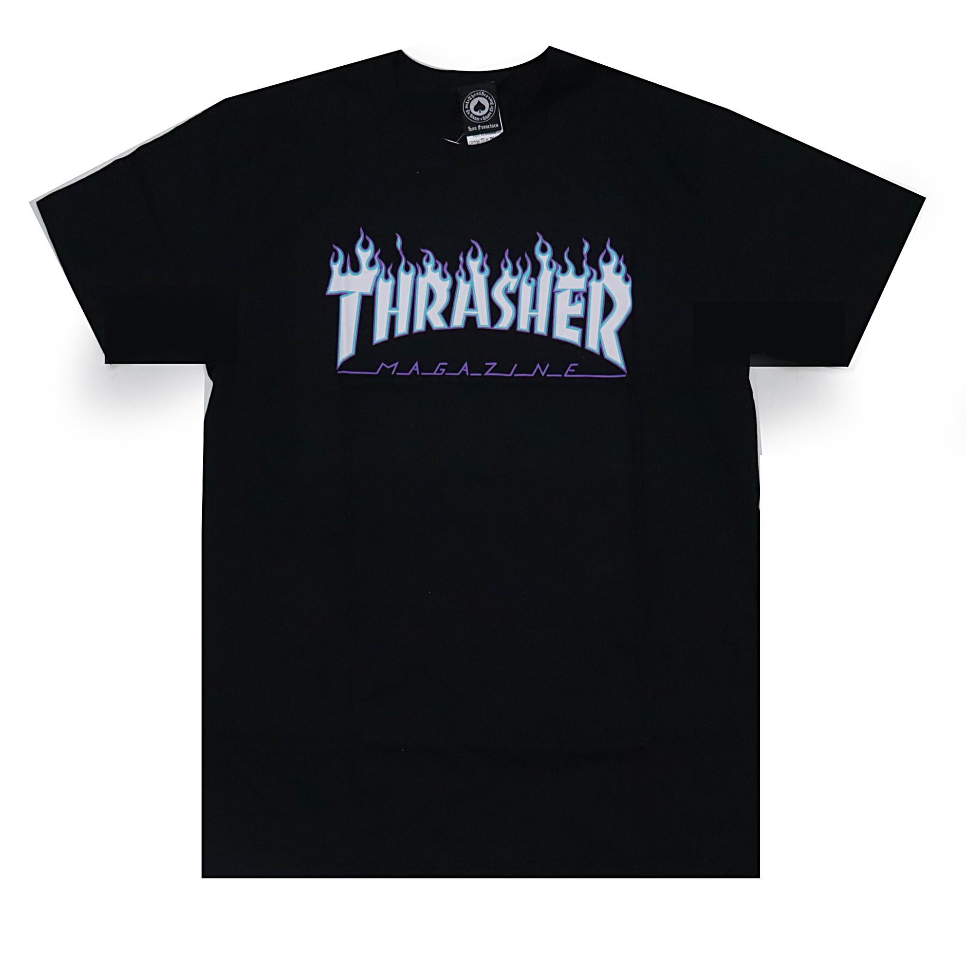 Camiseta Thrasher Magazine Flame Logo Sky - Preto