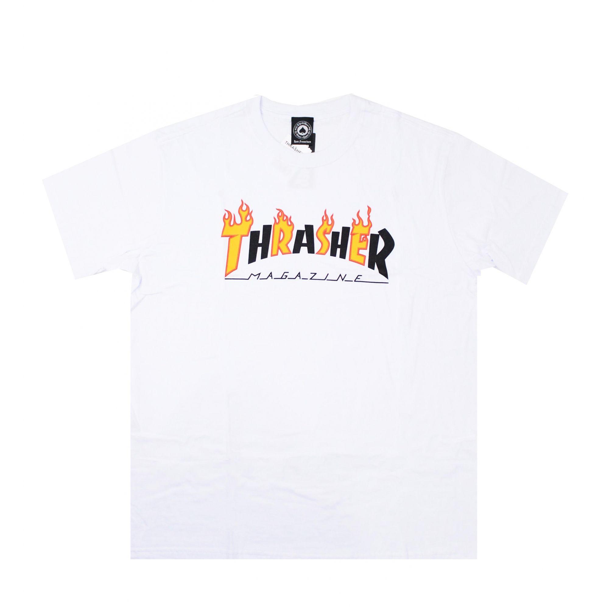 Camiseta Thrasher Magazine Flame Mag Branco