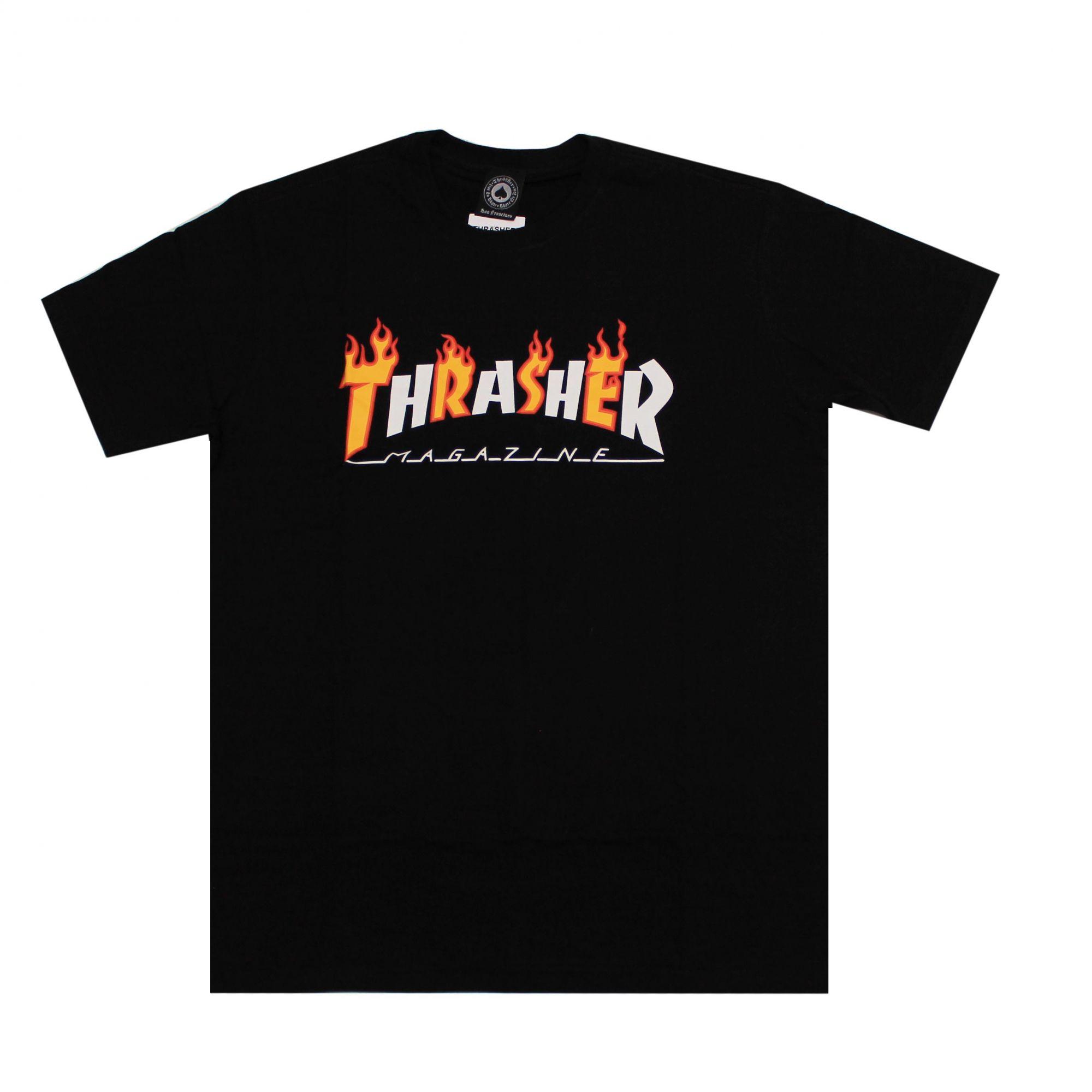 Camiseta Thrasher Magazine Flame Mag Preto