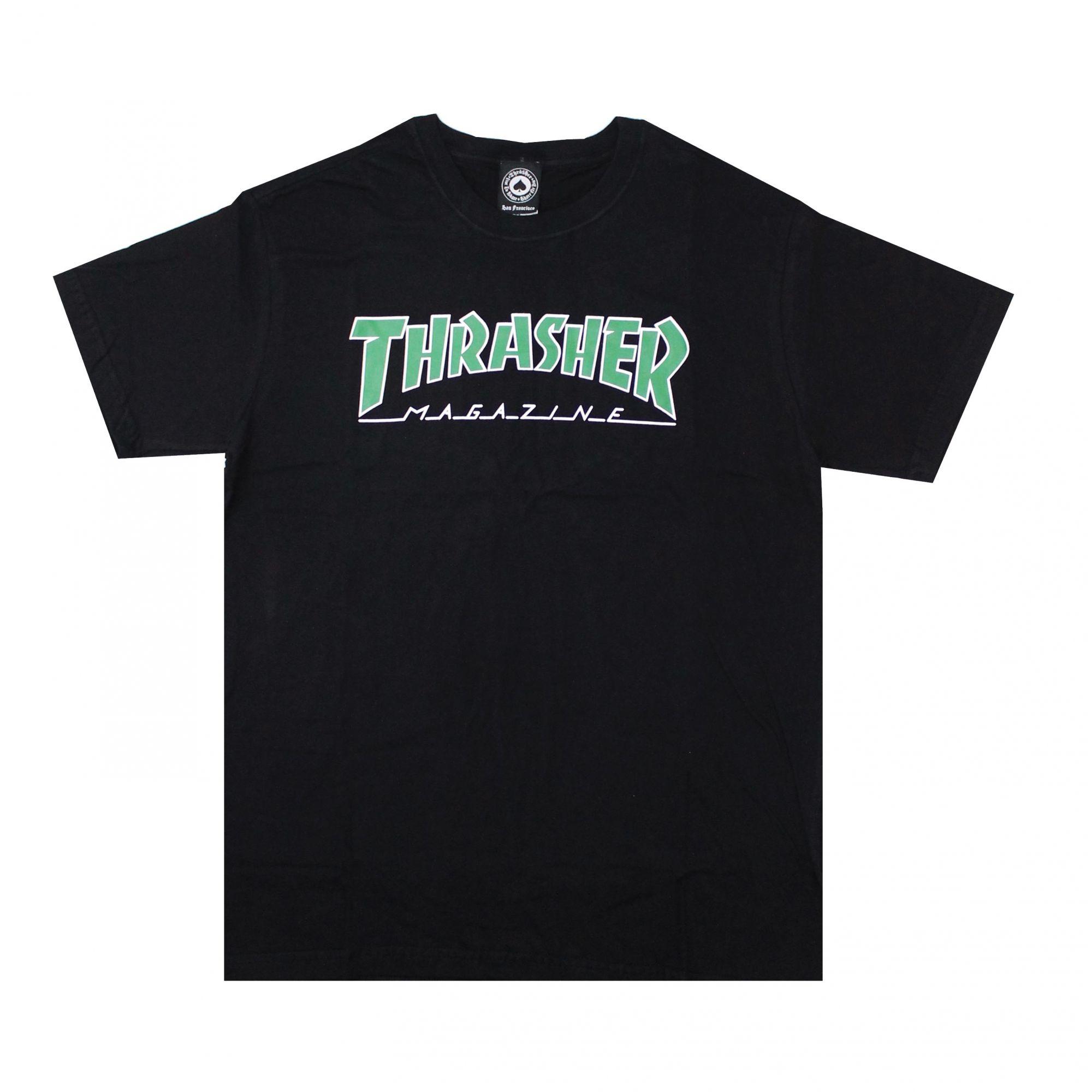 Camiseta Thrasher Magazine Green Outlined Preto