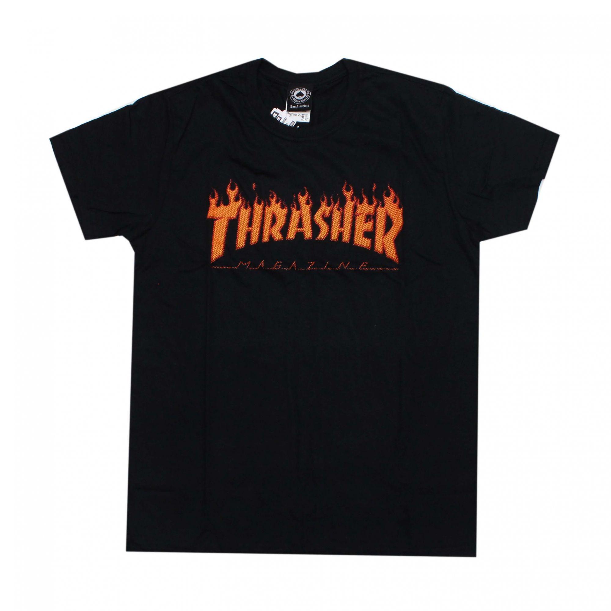 Camiseta Thrasher Magazine Halftone Flame Preto