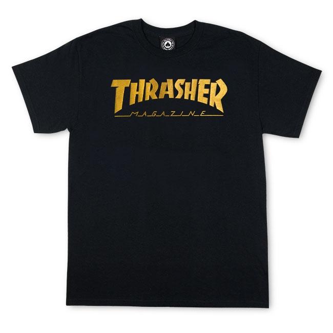Camiseta Thrasher Magazine Logo Gold Foil - Preto (Silk Cromado Ouro)