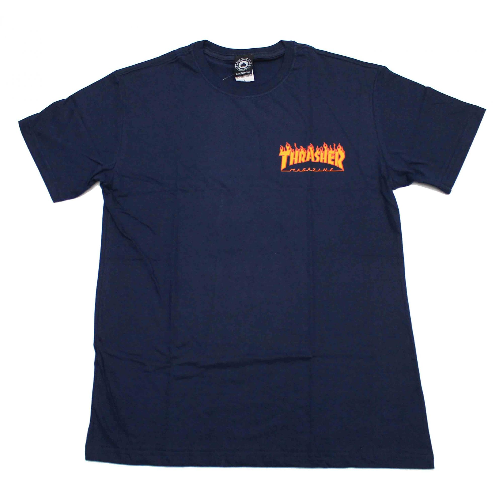 Camiseta Thrasher Magazine Mini Flame - Azul Marinho
