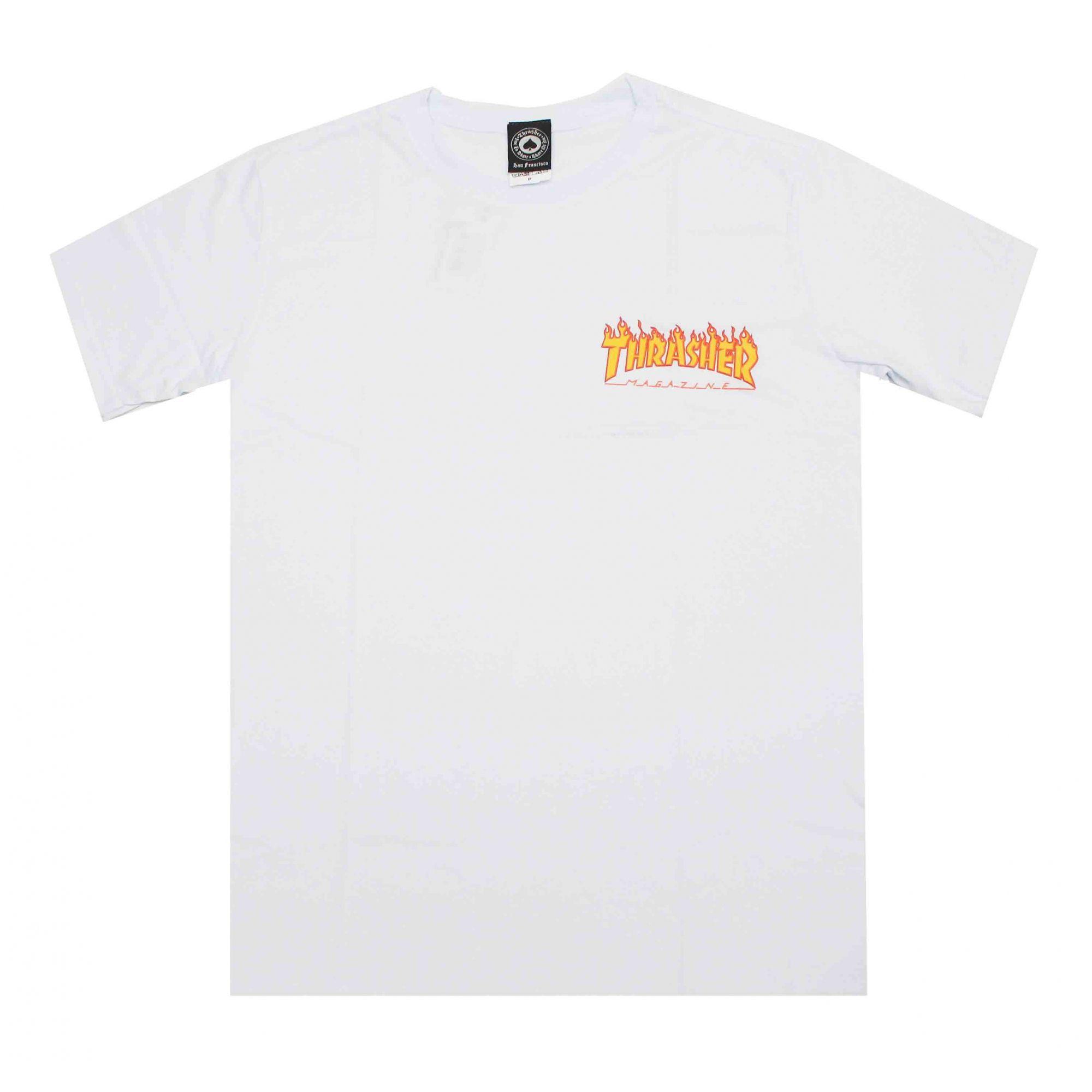 Camiseta Thrasher Magazine Mini Flame - Branco