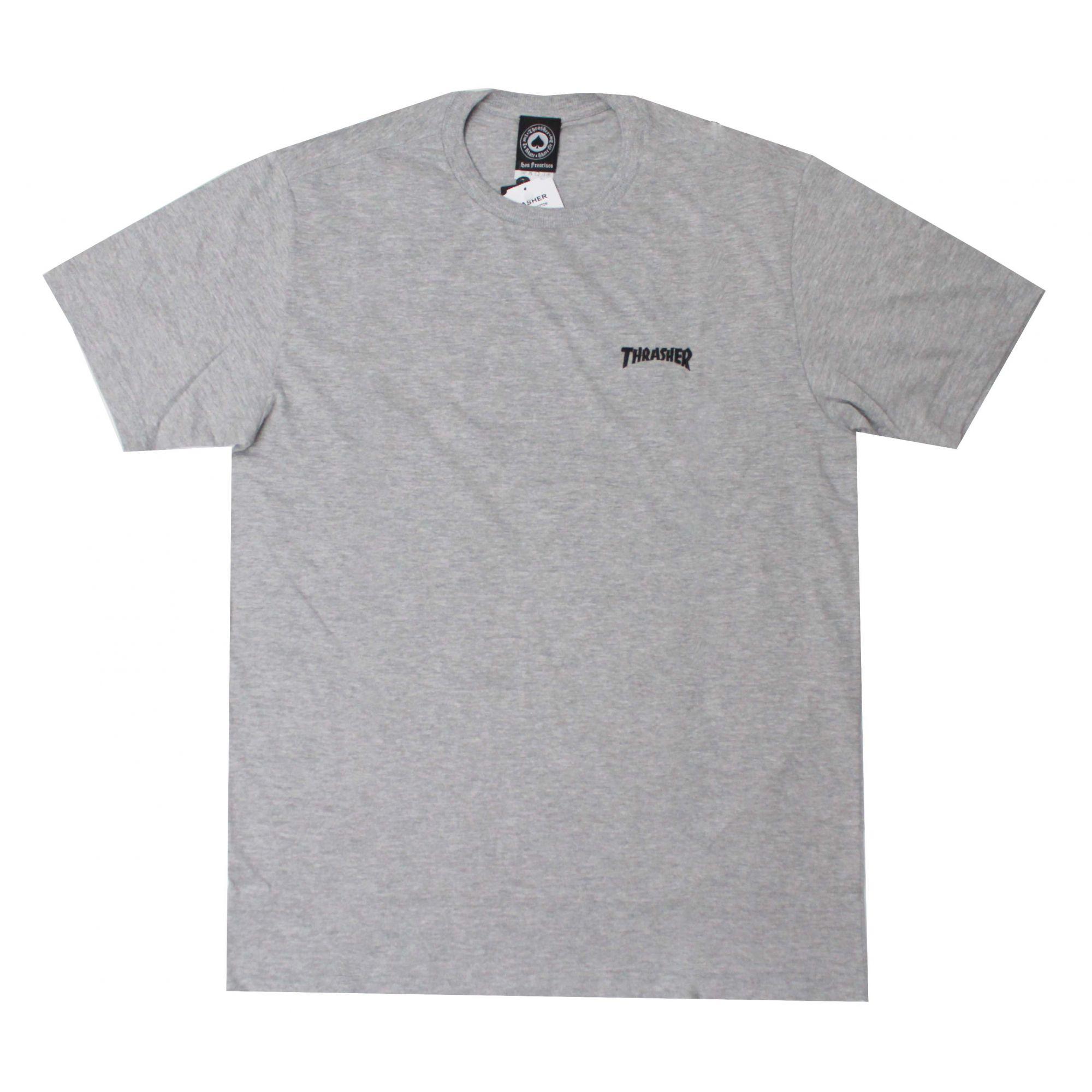 Camiseta Thrasher Magazine Mini Logo Bordado Cinza Mescla