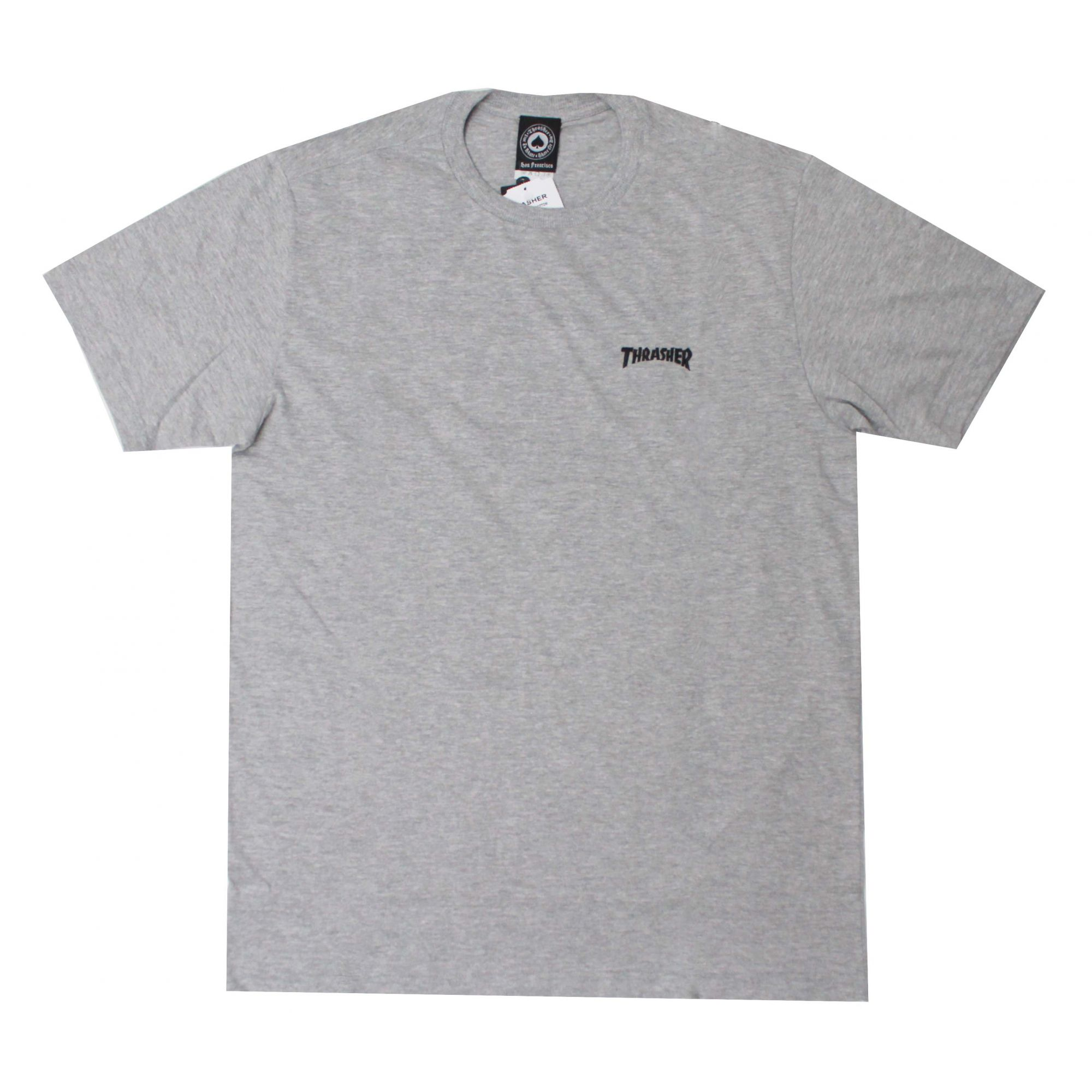 Camiseta Thrasher Magazine Mini Logo Bordado - Cinza Mescla