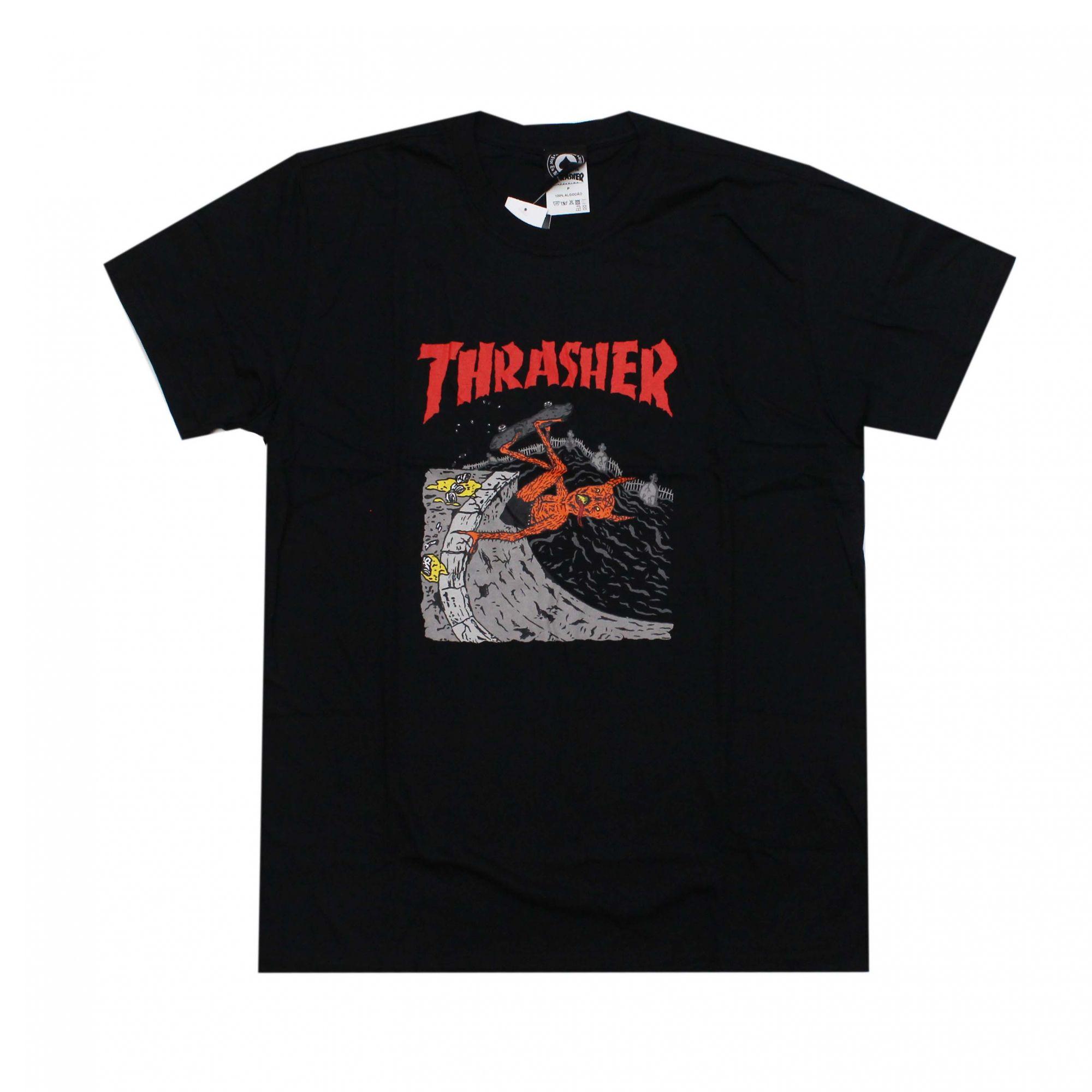 Camiseta Thrasher Magazine Neckface Invert Preto