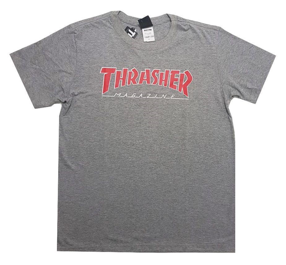 Camiseta Thrasher Magazine Outlined - Cinza Mescla