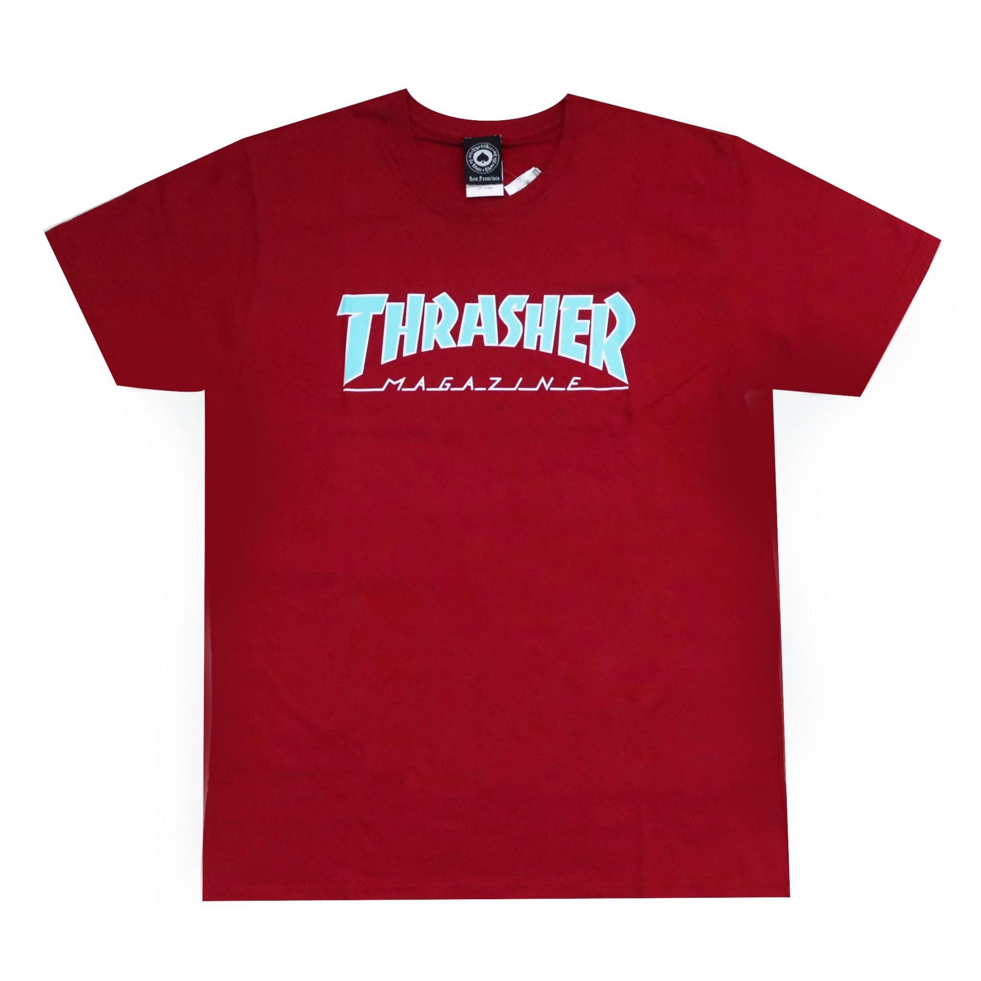 Camiseta Thrasher Magazine Outlined - Vermelho Bordô/Azul