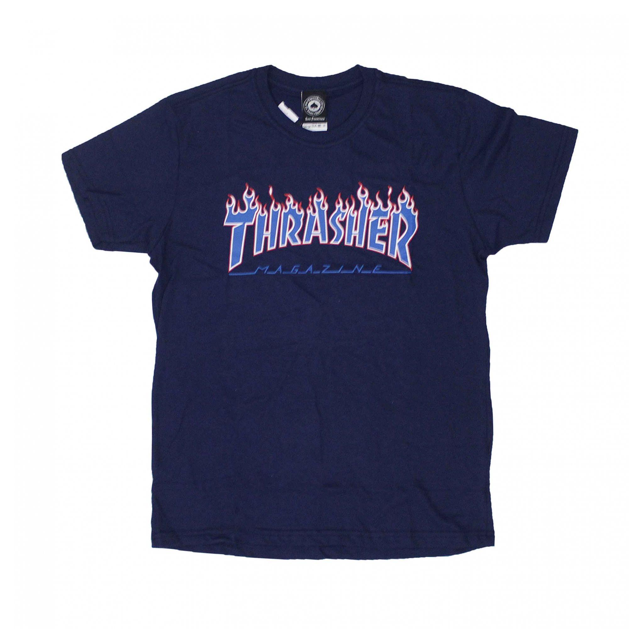 Camiseta Thrasher Magazine Patriot Flame Azul Marinho