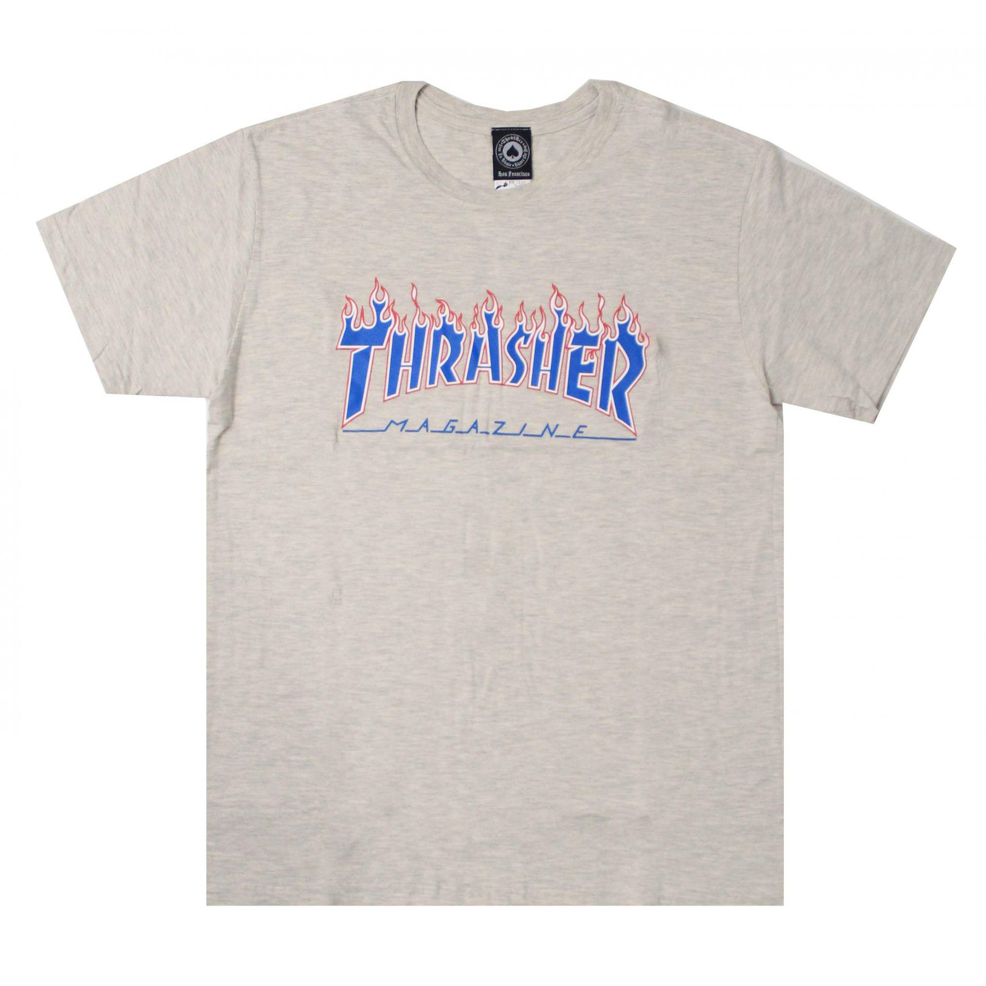 Camiseta Thrasher Magazine Patriot Flame Branco Mescla